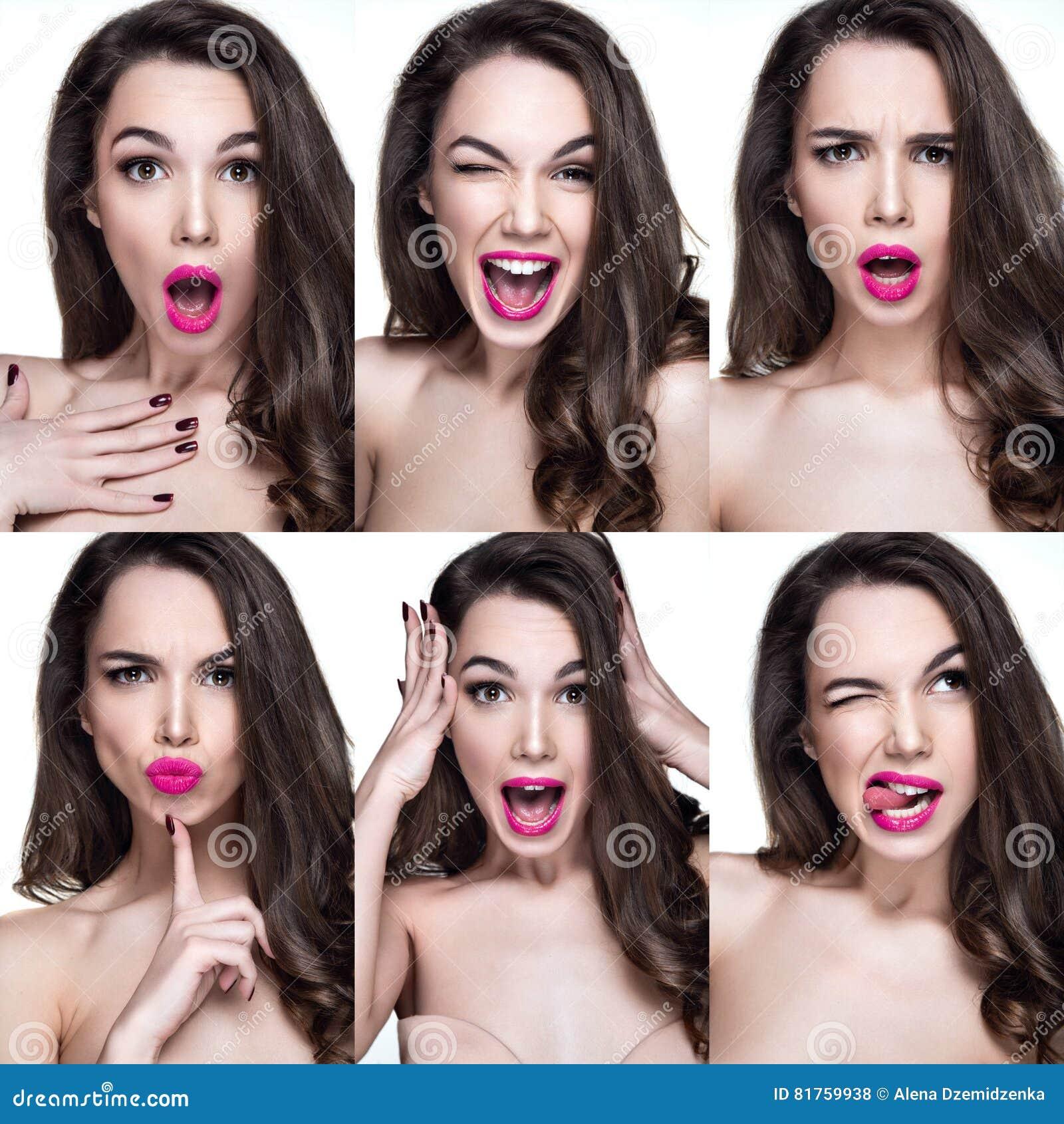 Schönheitsporträts mit verschiedenen Gefühlen auf Gesicht