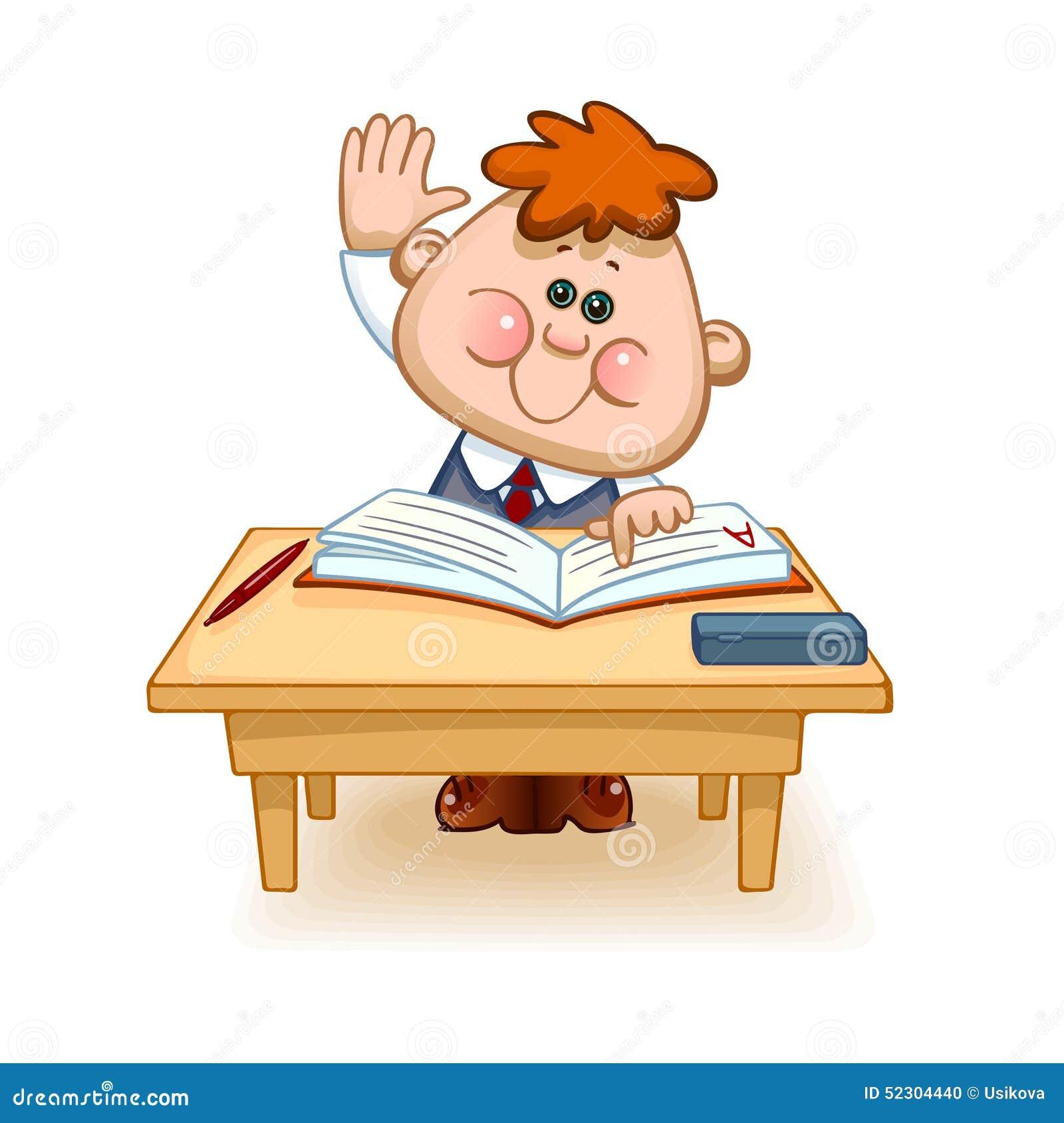 Tisch schule clipart  Schüler Am Tisch Vektor Abbildung - Bild: 52304440