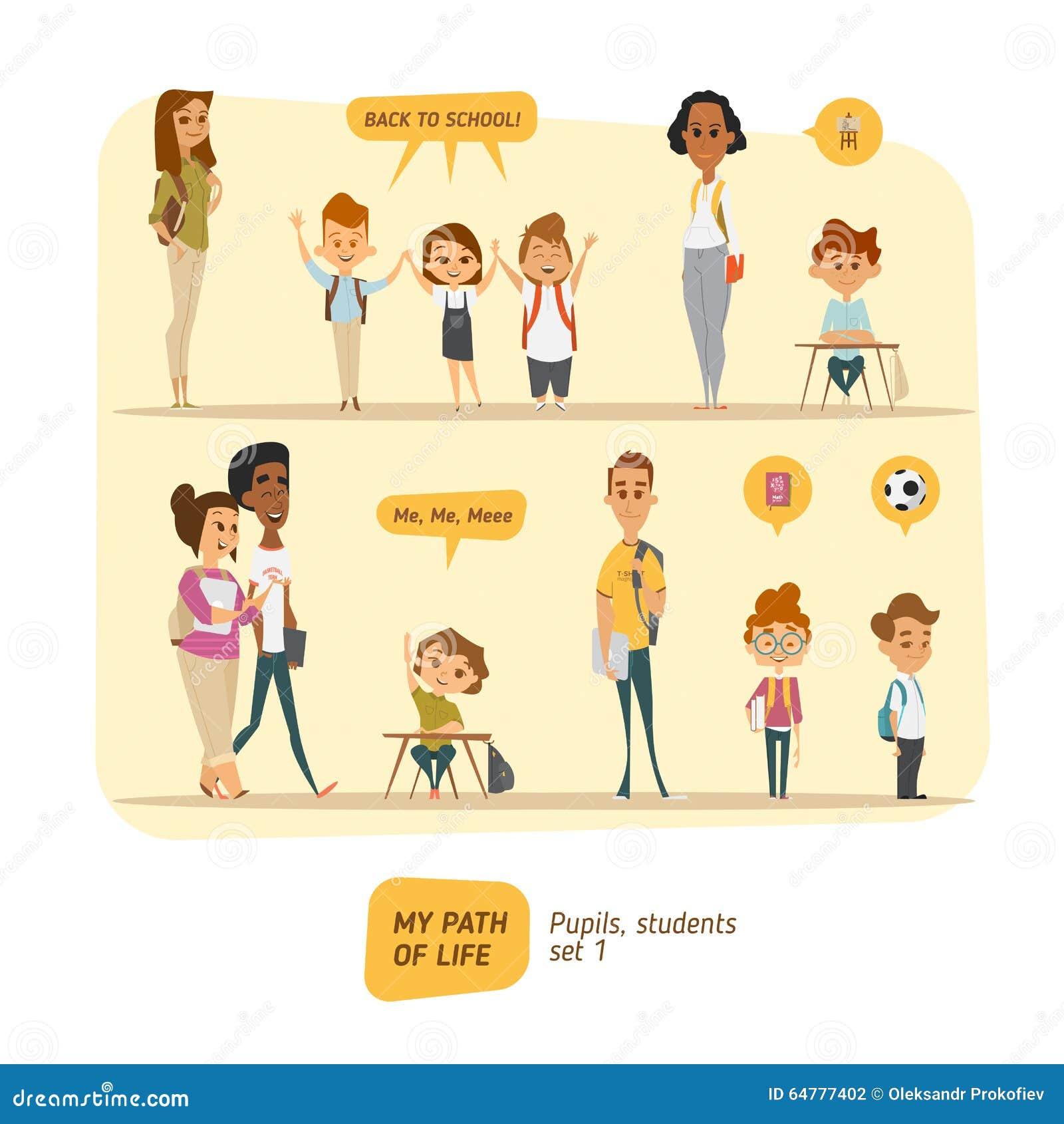 Schüler- und Studentenvektorsatz