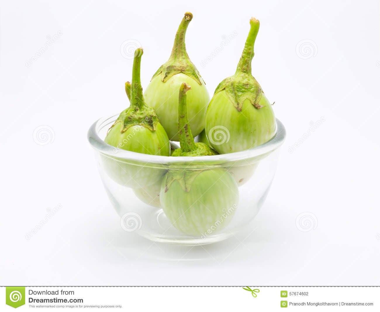 Schüssel grüne Aubergine
