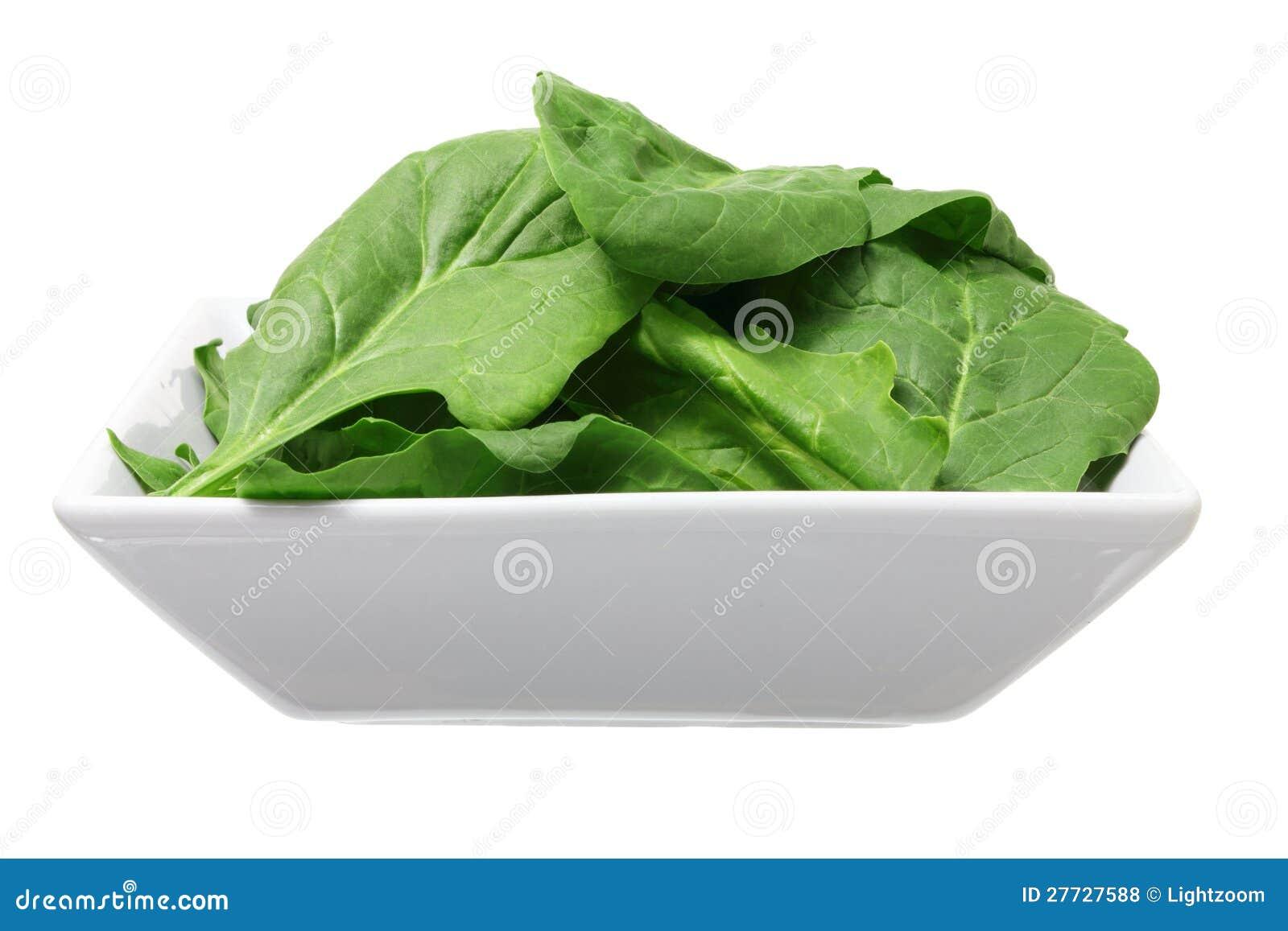 Schüssel Spinat-Blätter
