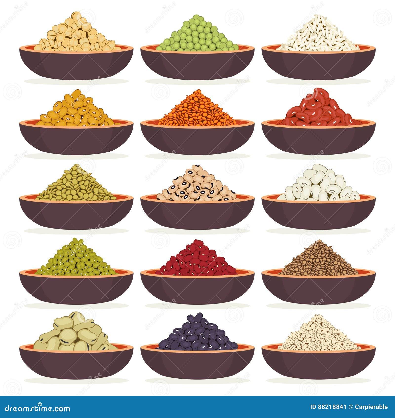 Schüsseln Getreide und Hülsenfrüchte