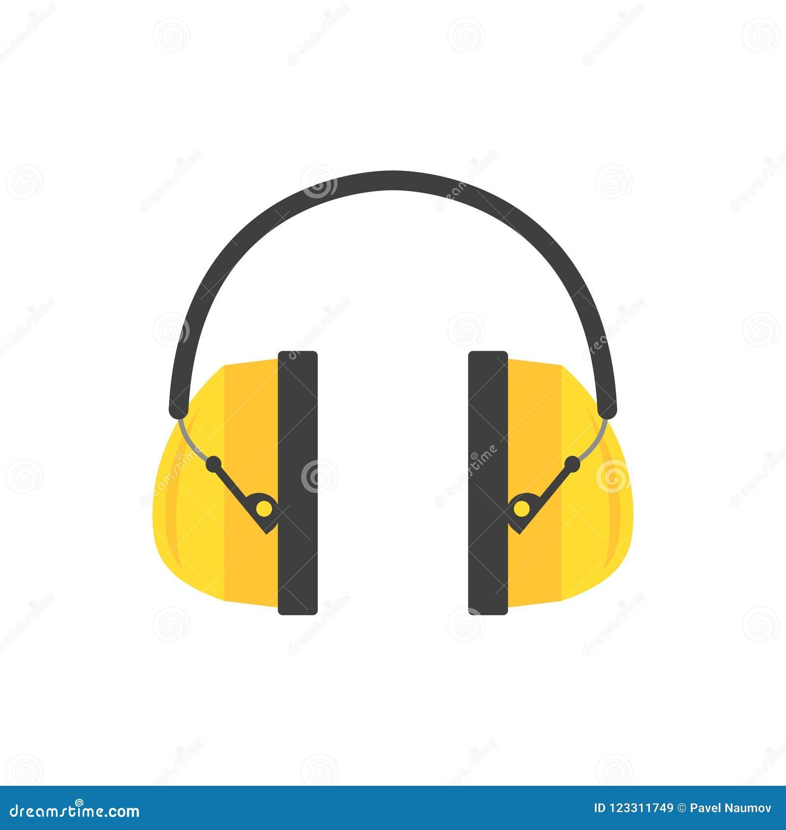Schützende Ohrmuffen Gelbe Kopfhörer für Bauarbeiter Berufsausrüstung zur Hörensicherheit Flacher Vektor