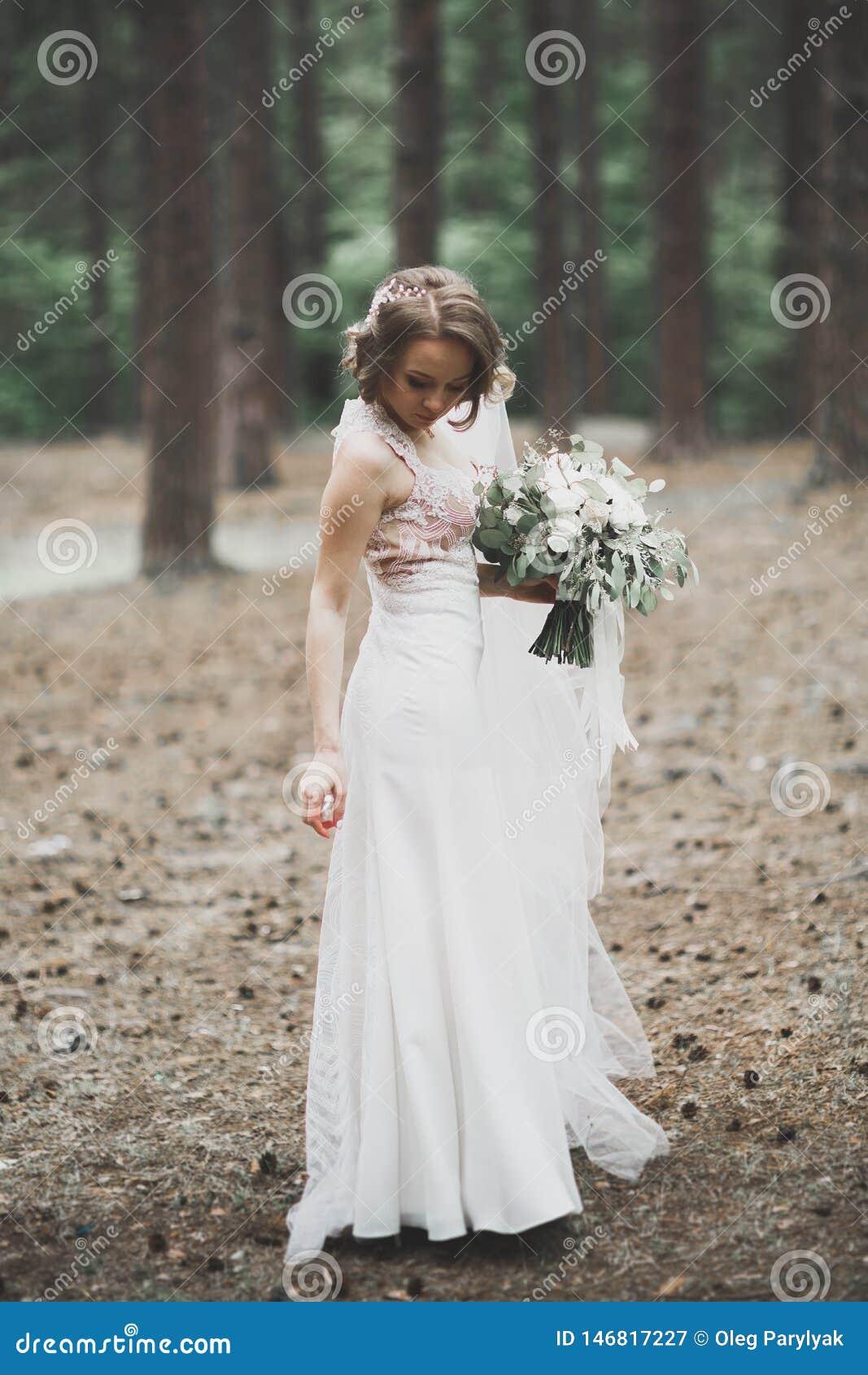 Sch?ne Braut, die drau?en im Hochzeitskleid aufwirft
