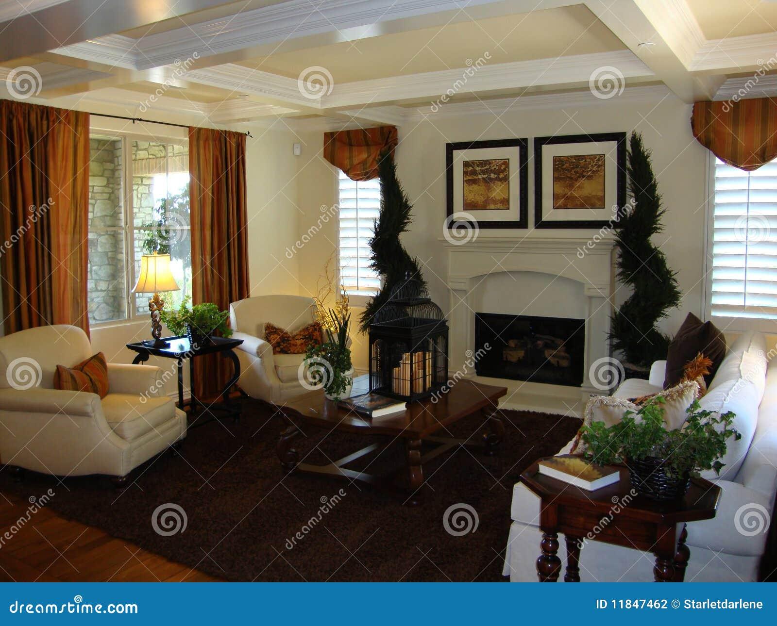 Schönes wohnzimmer mit einem kamin strahlt auf den deckenfenstern mit