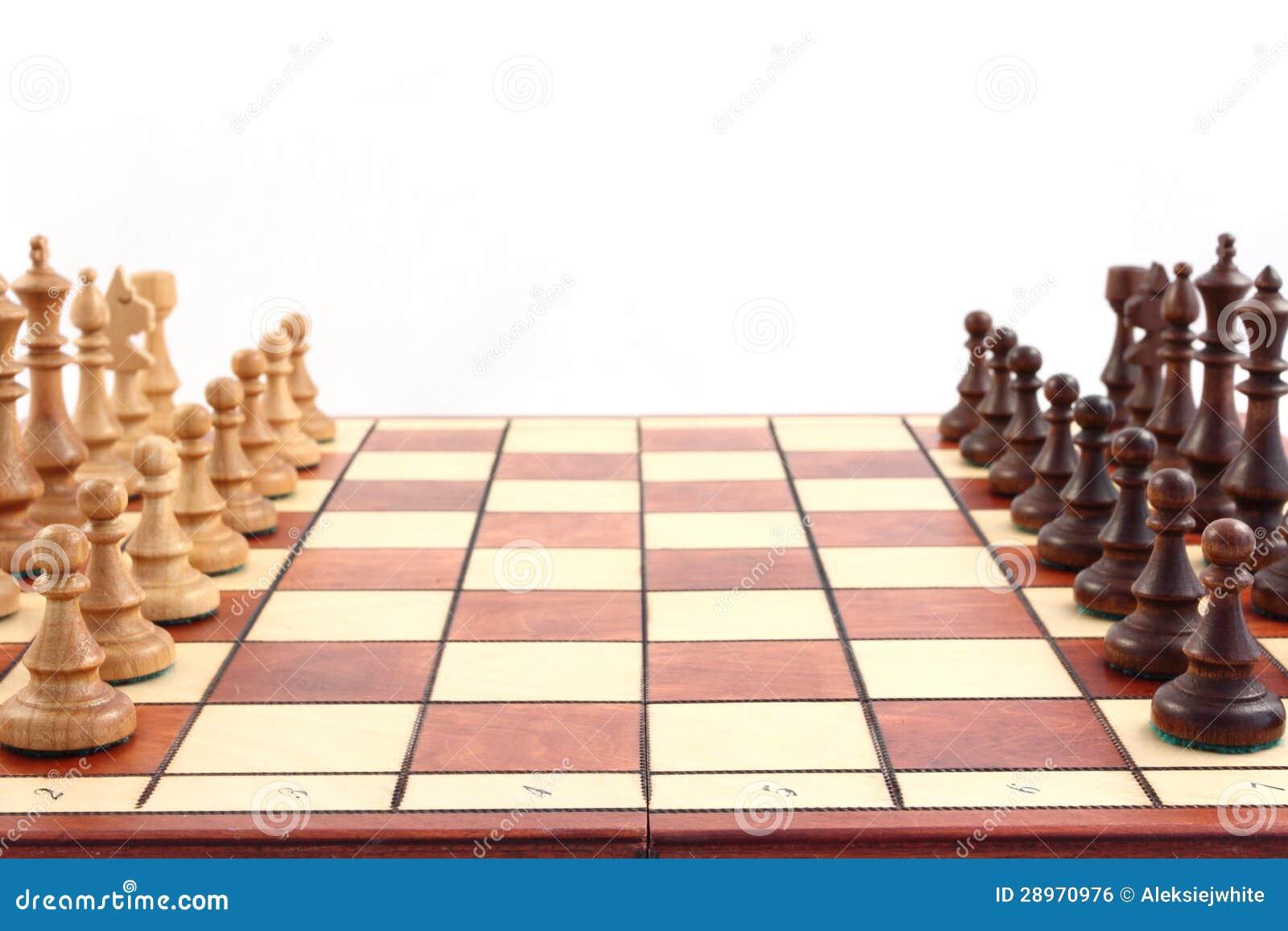 Schaak op schaakbord