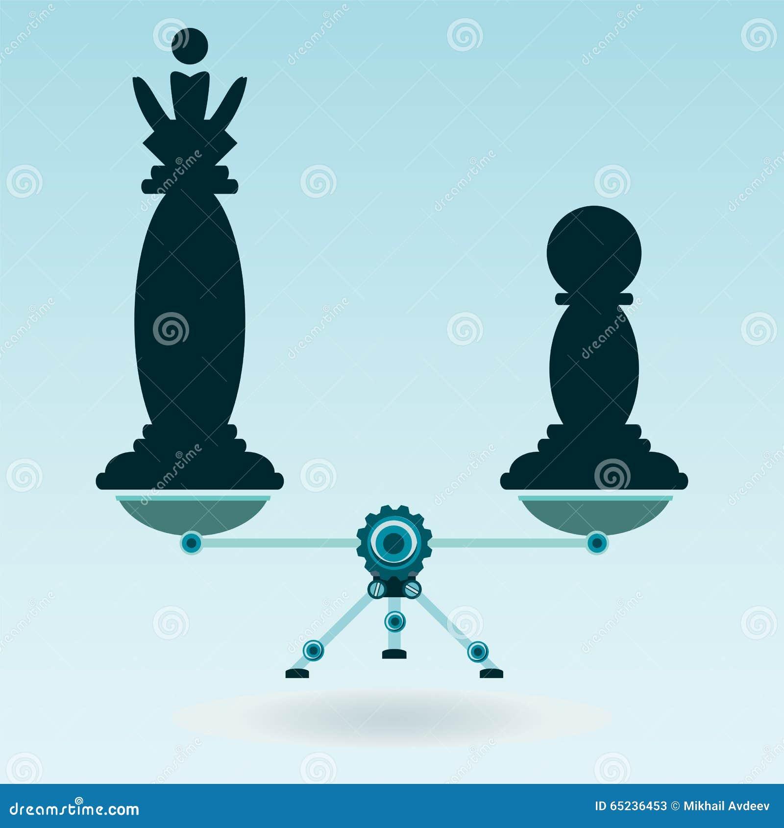 Schaakstukkenkoningin en pand op de schalen in evenwicht