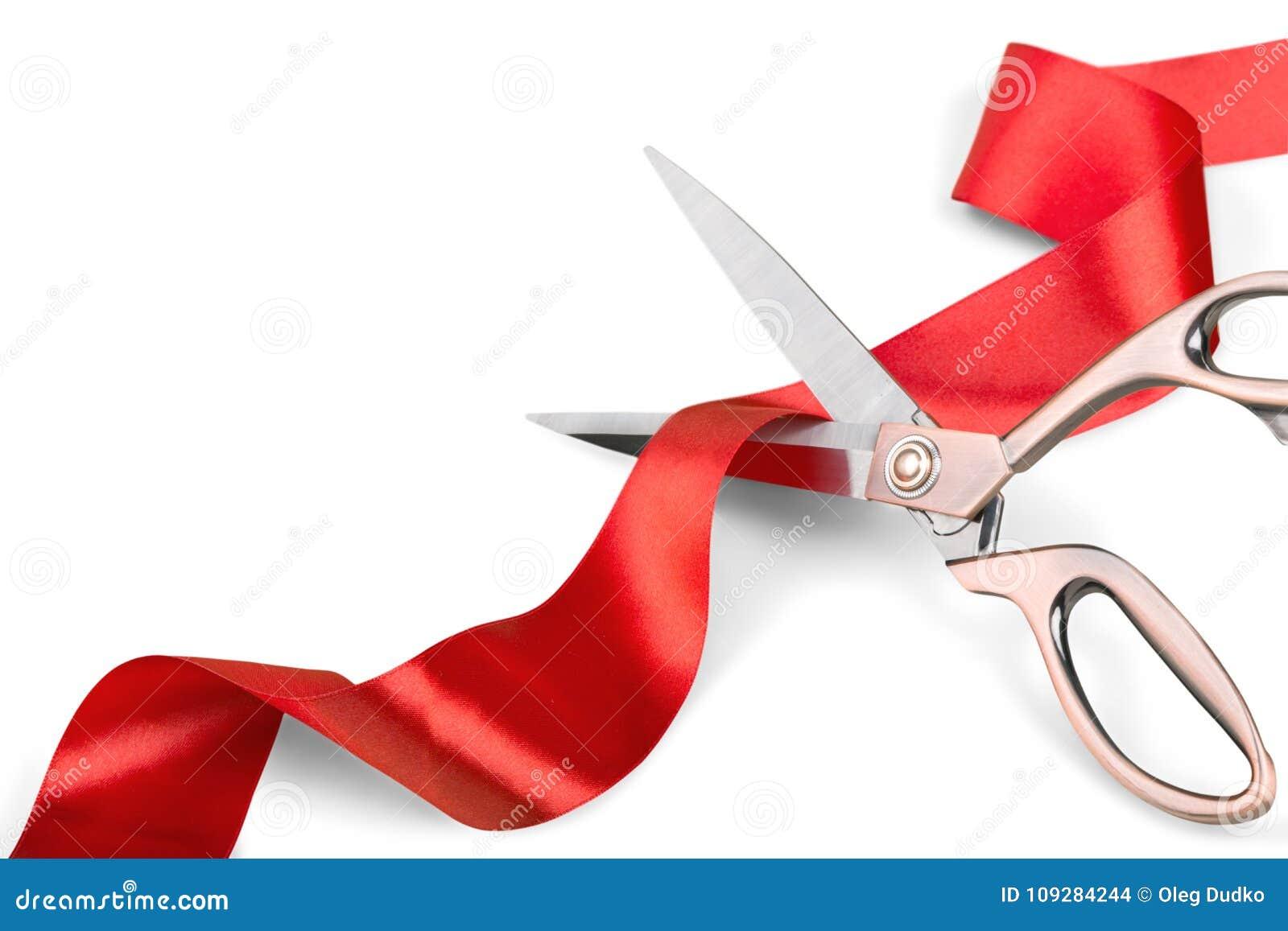 Schaar die rood lint snijdt