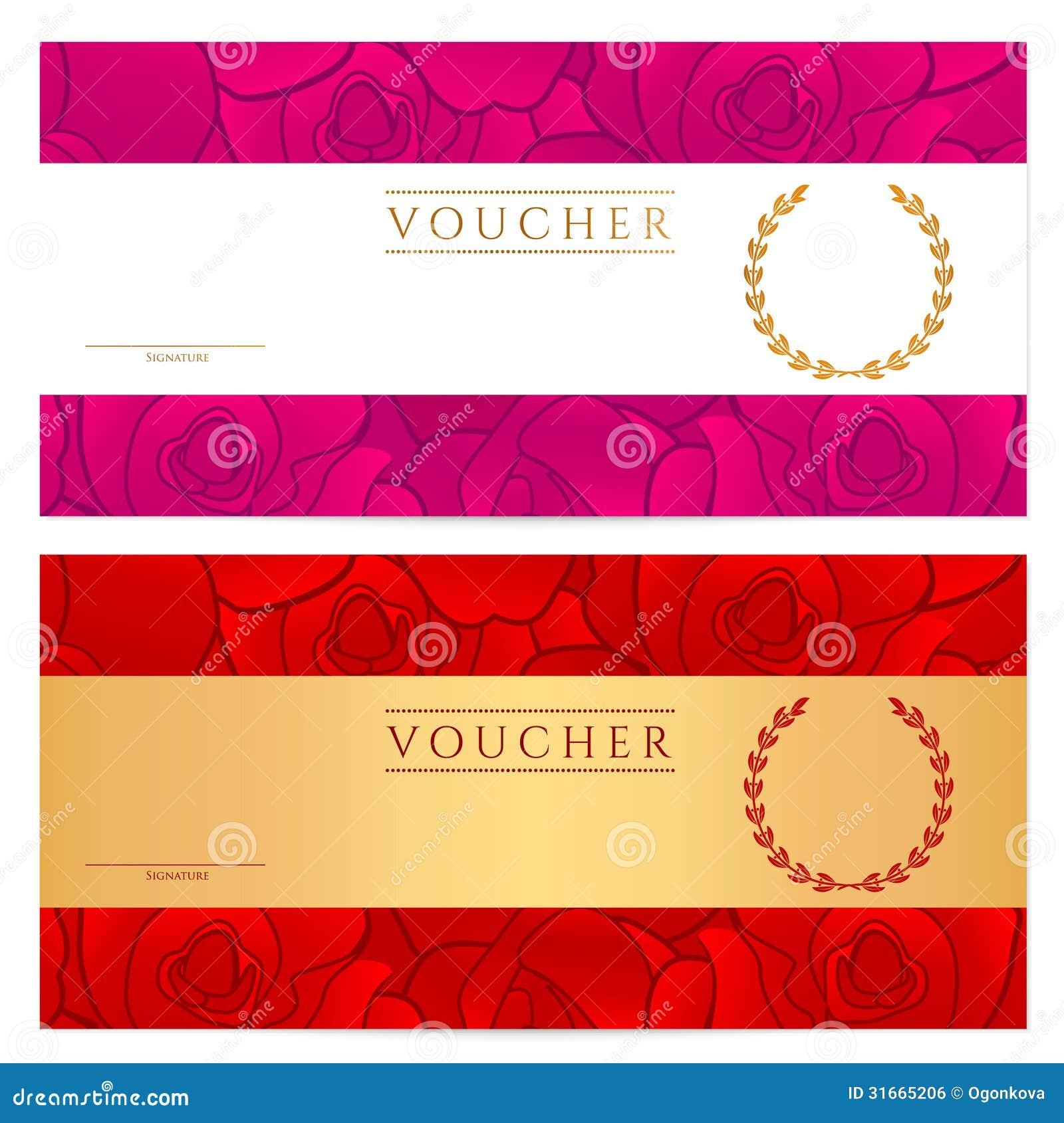 Schablone Des Belegs (Gutschein, Kupon). Rose Vektor Abbildung ...