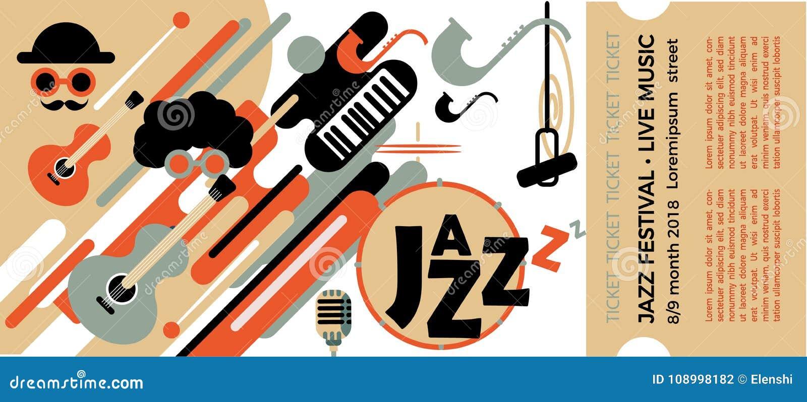 Schablone Für Die Karte Des Jazzfestivals Mit Musikinstrumenten ...