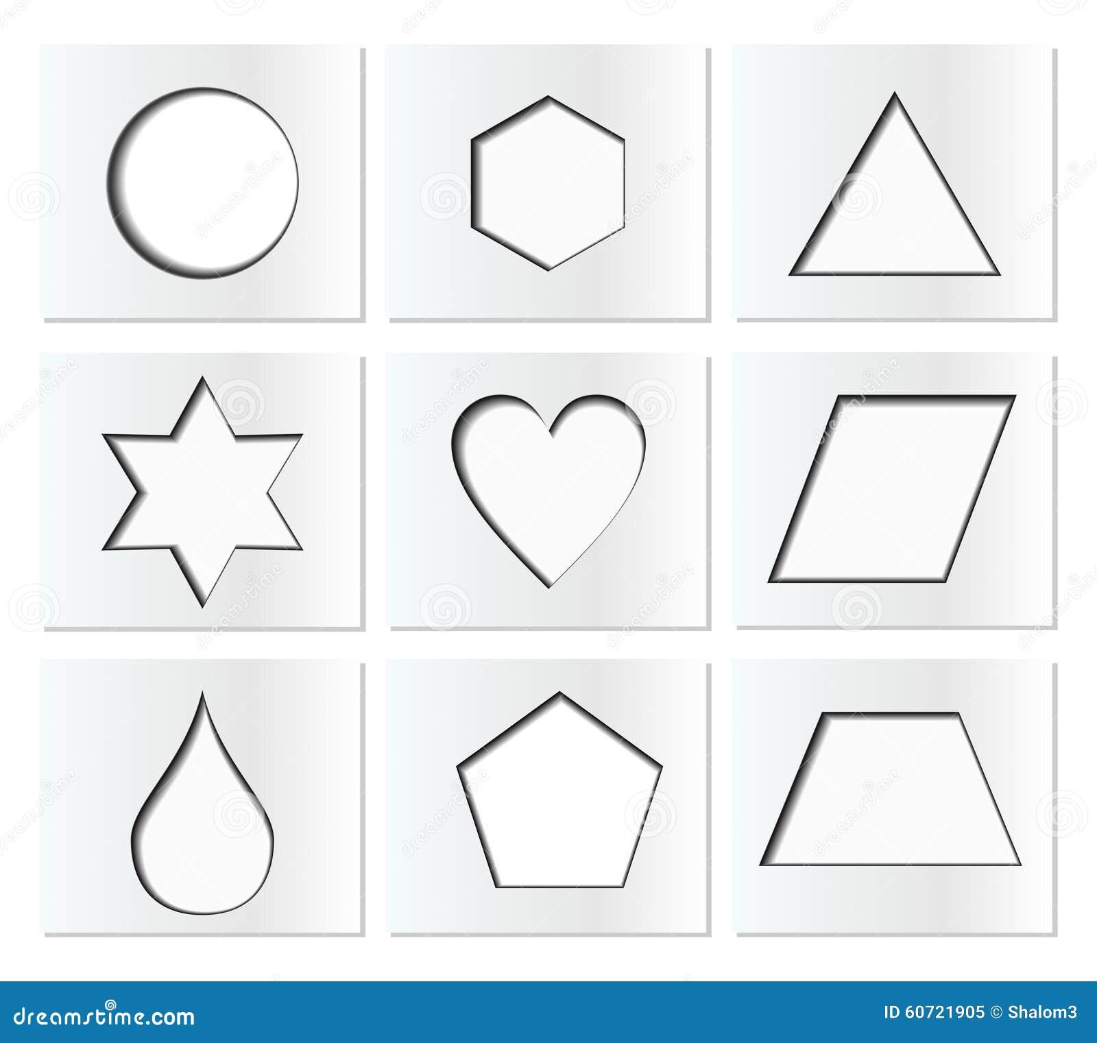 schablone f r einfache geometrische formen mit innerem schatten kreis hexagon dreieck stern. Black Bedroom Furniture Sets. Home Design Ideas