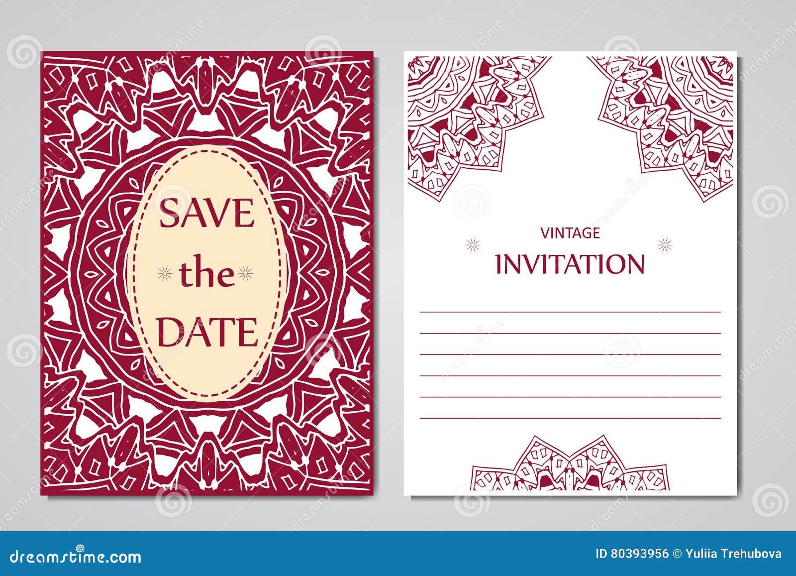 Schablone Von Hochzeitskarten Runde Orientalische Spitzeverzierung