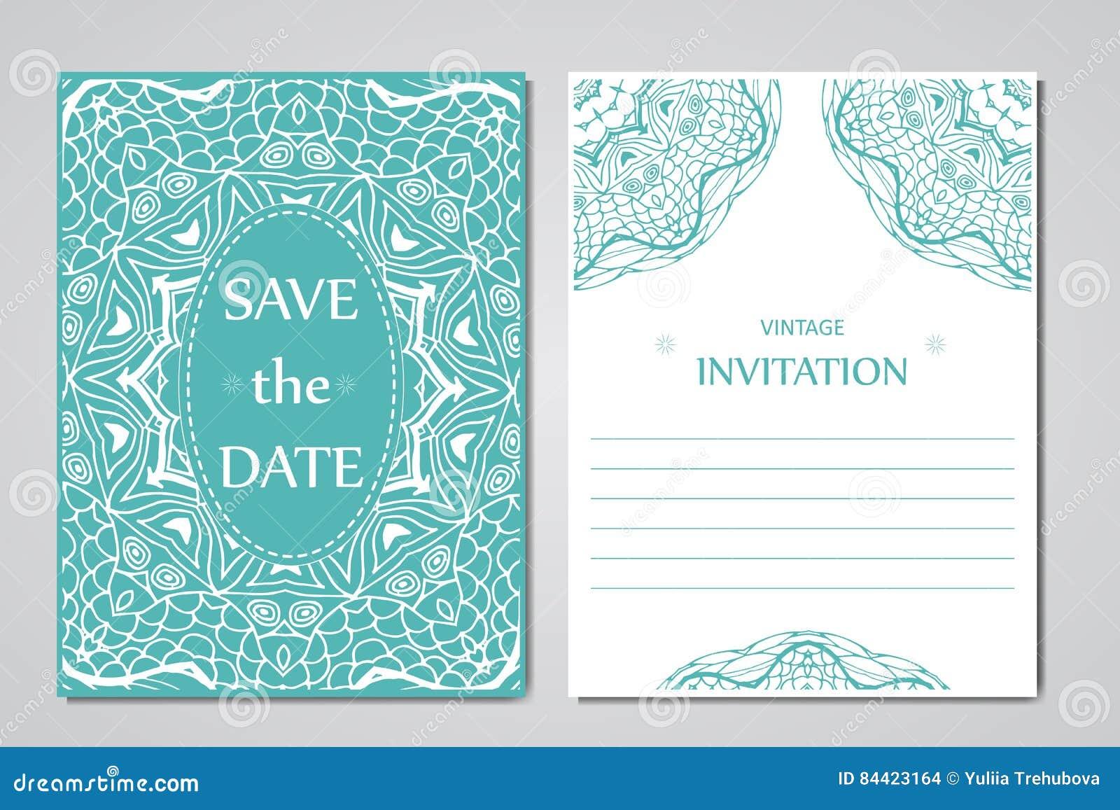 Schablone Von Hochzeitskarten Runde Orientalische Spitzeverzierung ...