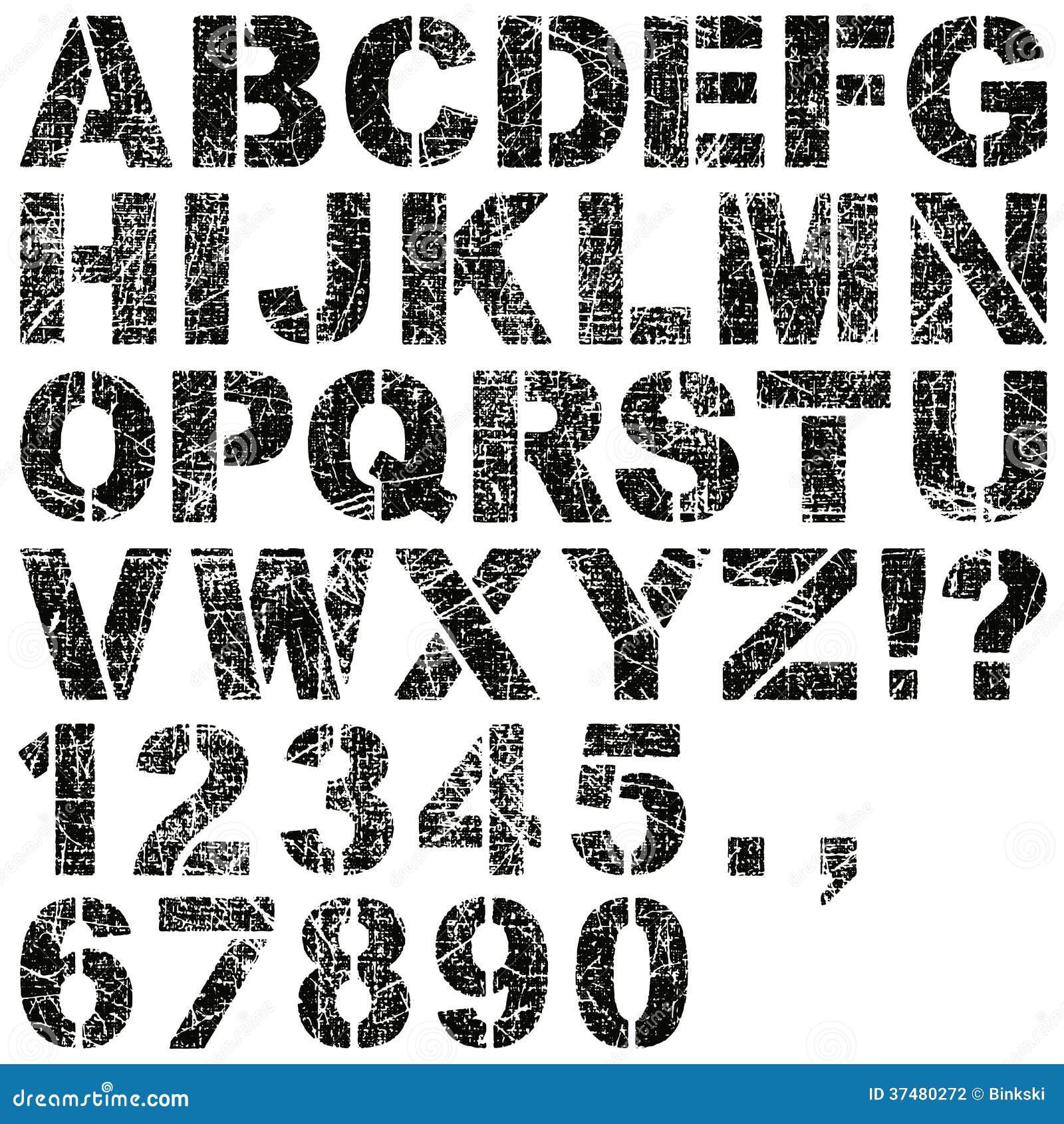 schablonenbuchstaben und zahlen vektor abbildung