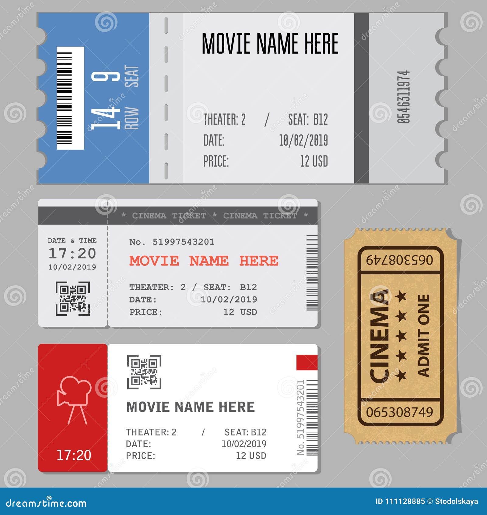 Schablonen Von Modernen Karten Für Kino Oder Konzerteingang Vektor ...