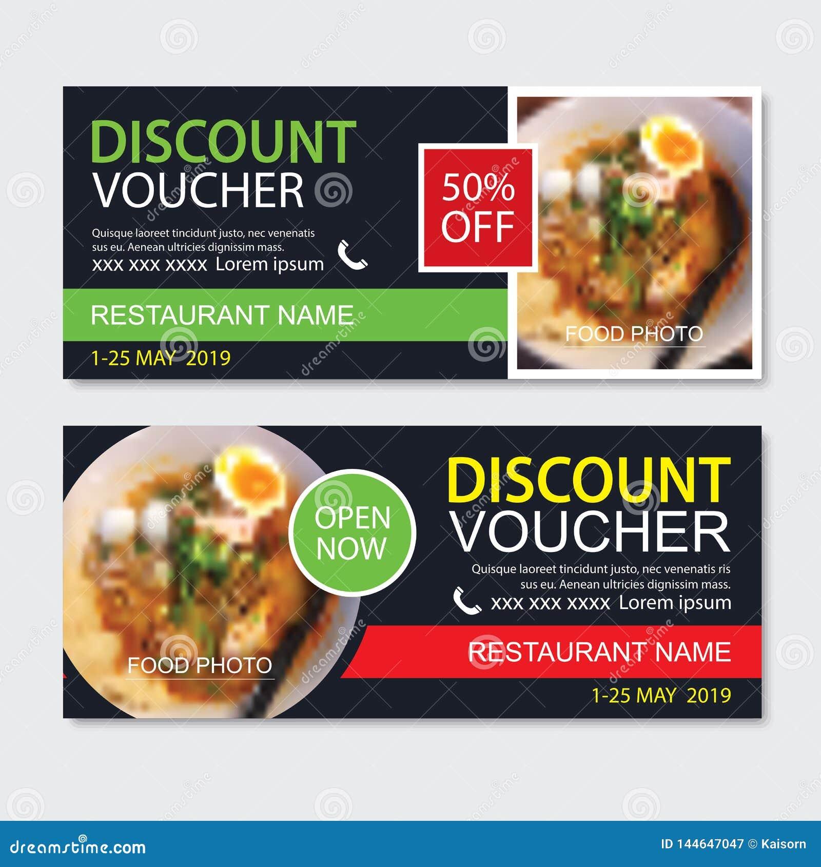 Schablonenentwurf des Rabattgeschenkgutscheins asiatischer Nahrungsmittel Nudelsatz Gebrauch für Kupon, Fahne, Flieger, Verkauf,