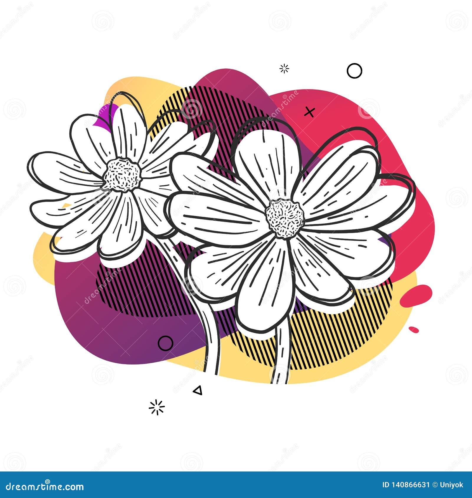 Schablonenentwurfsdruck mit Blumenlinie graphik Plakat mit moderner abstrakter Steigungsform mit Blumenblüte