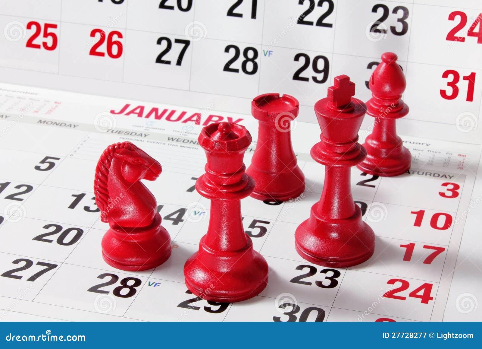 Schach-Stücke auf Kalender