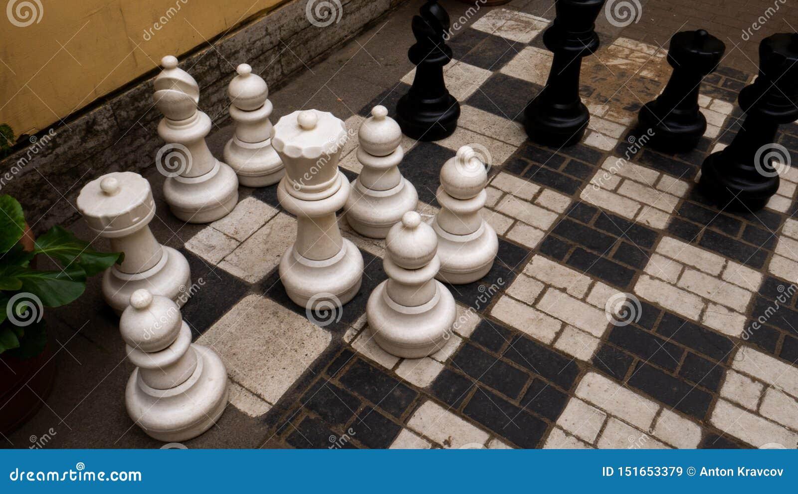 Schachbrett mit enormen Zahlen, König, Saatkrähe
