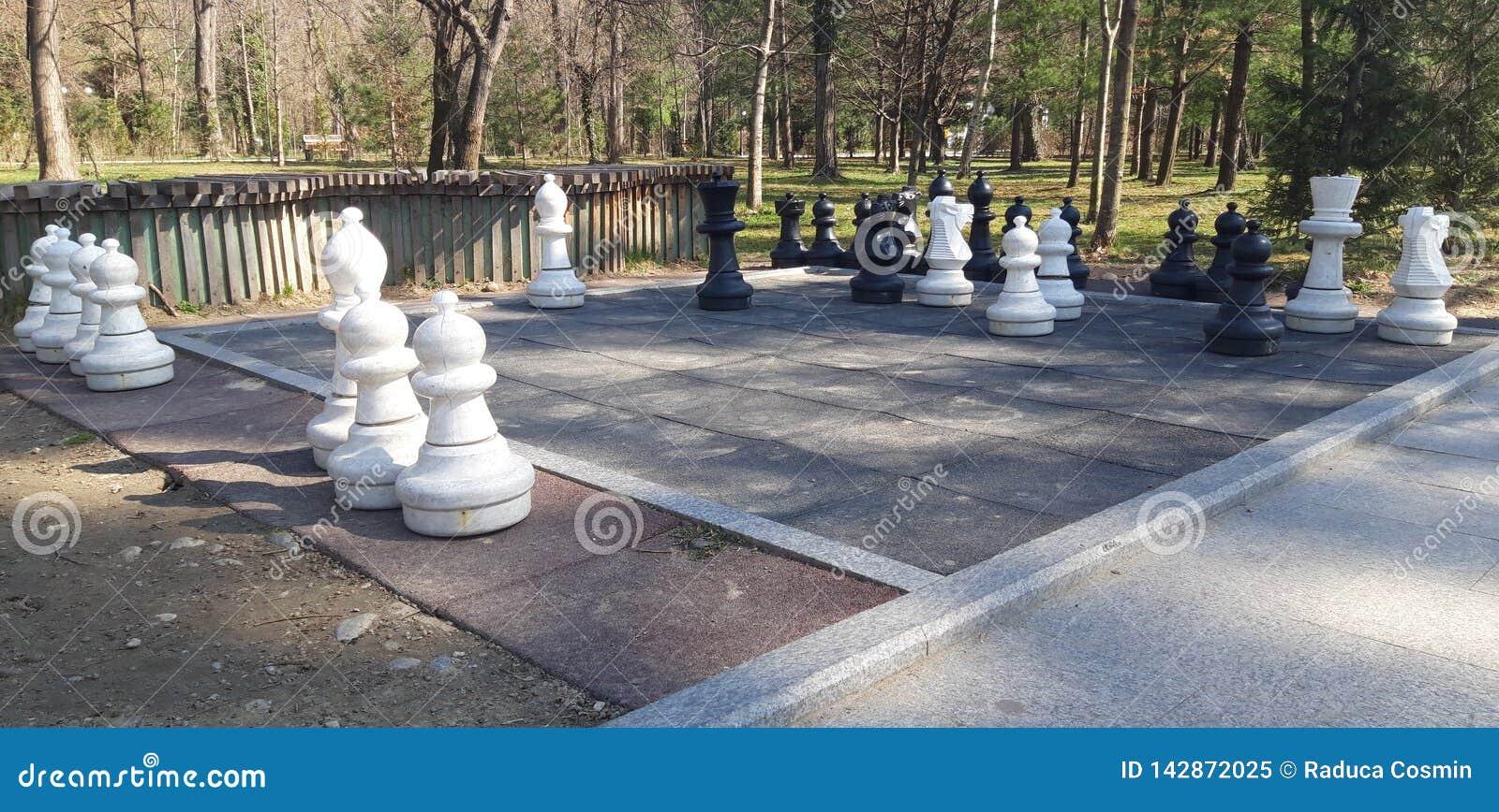 Schachfiguren im Park