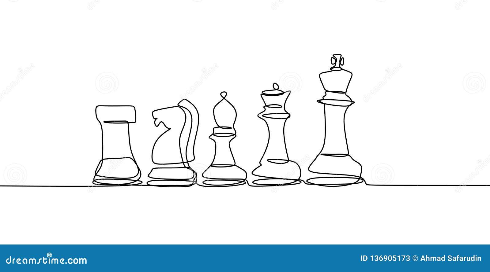 Schachspieler mit der ununterbrochenen Federzeichnungs-Vektorillustration der einzelnen Zeile lokalisiert auf weißem Hintergrund