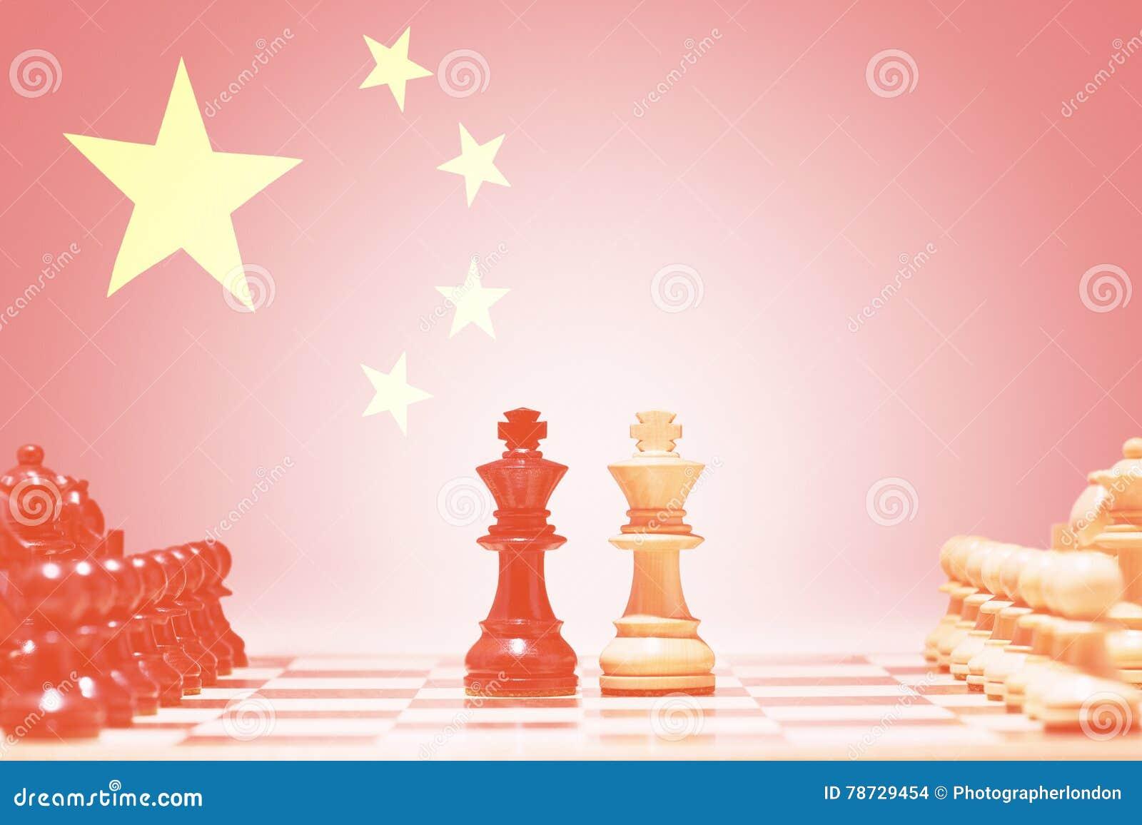 Schackstycken mot kinesisk flagga