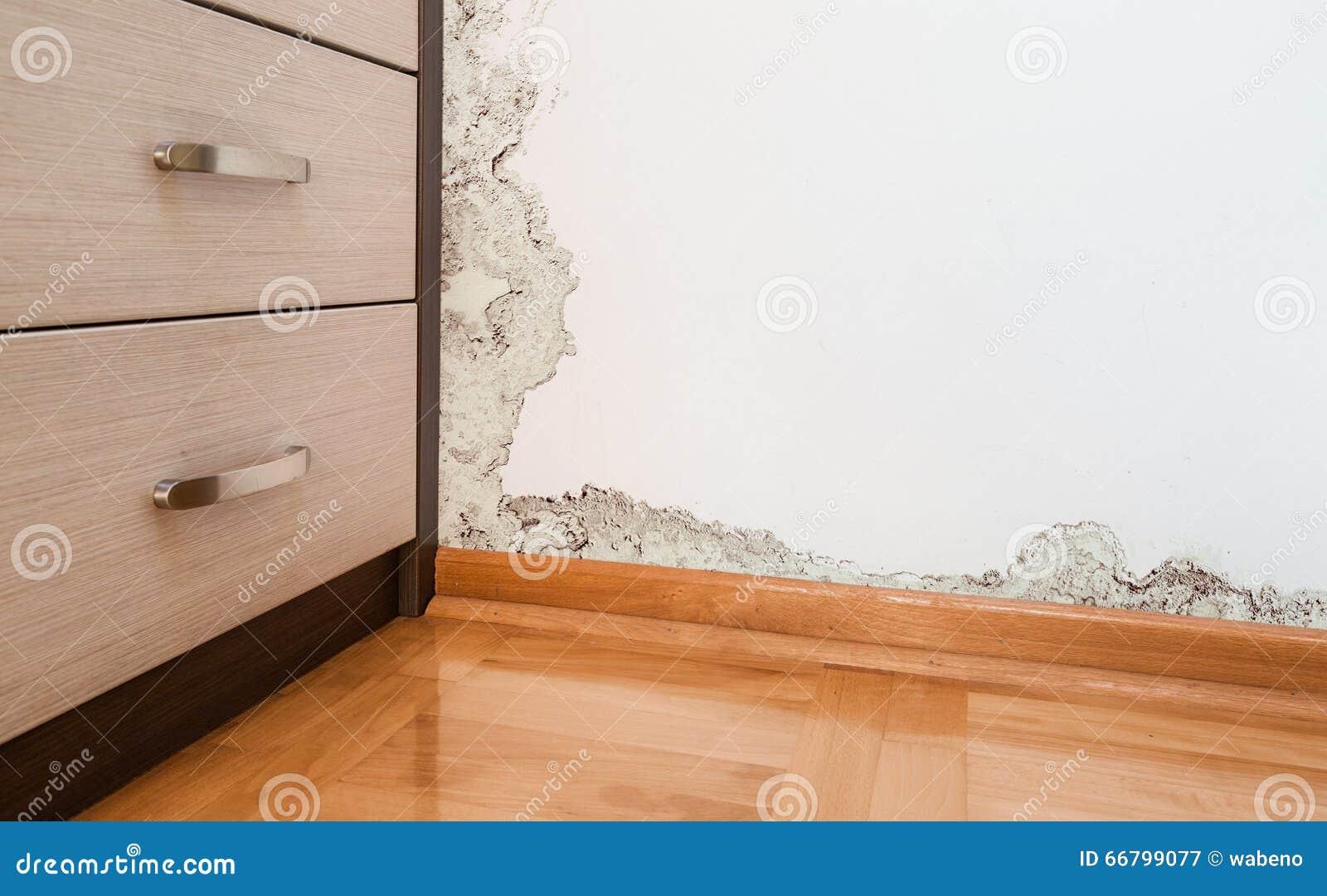 Schaden verursacht durch Feuchtigkeit auf einer Wand im modernen Haus
