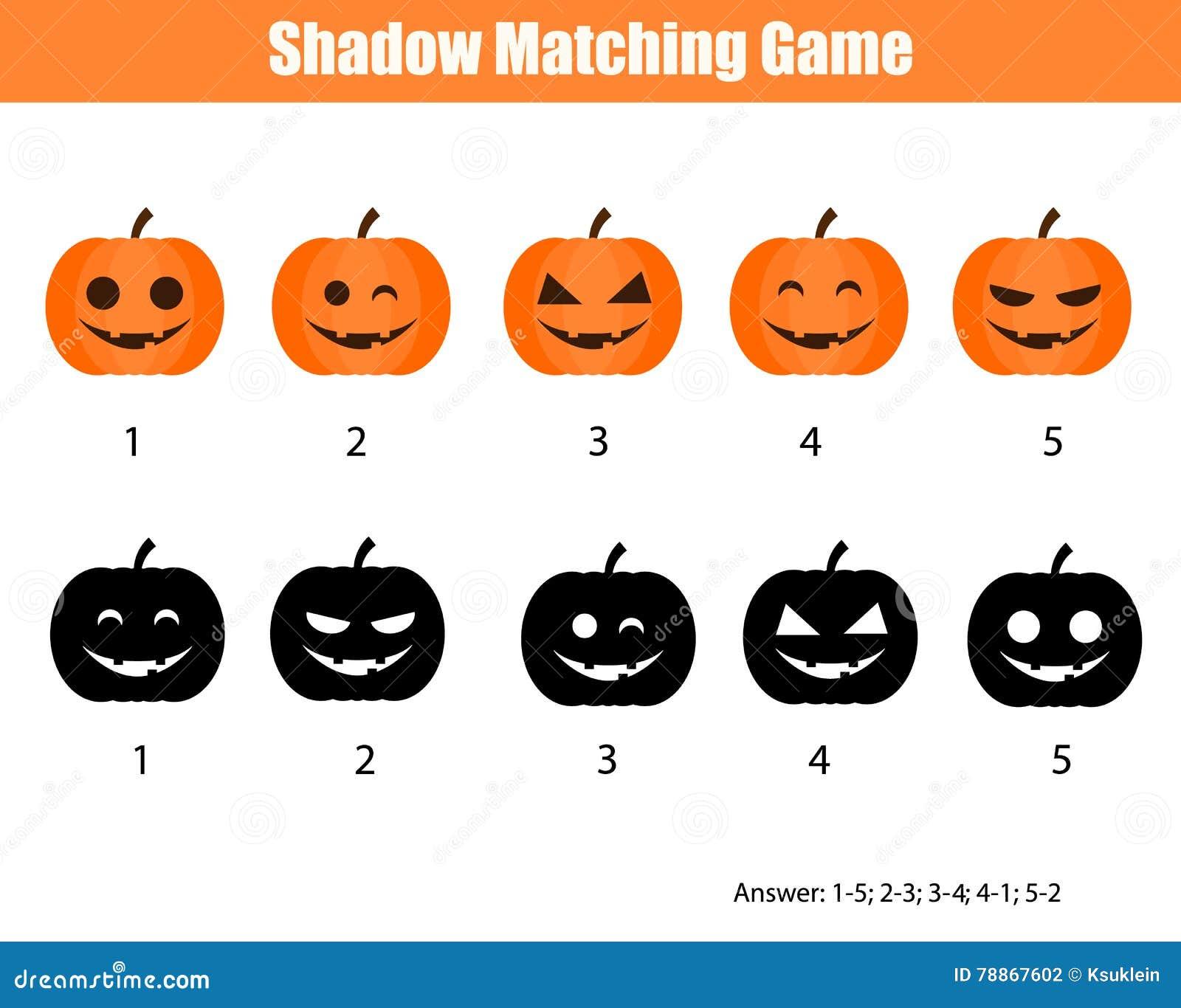 Halloween Thema.Schaduw Passend Spel Halloween Thema Met Pompoenen Vector