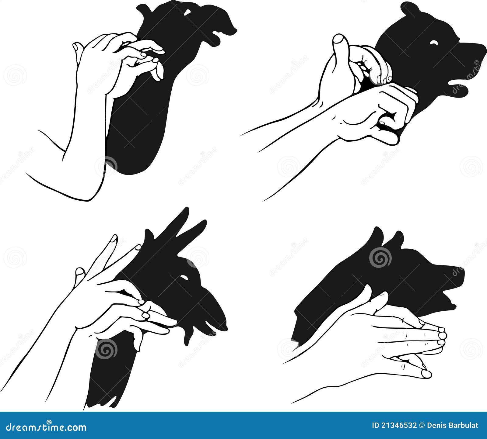 Schaduw van handen die dierlijk hoofd vormen vector illustratie afbeelding 21346532 - Schaduw maken ...