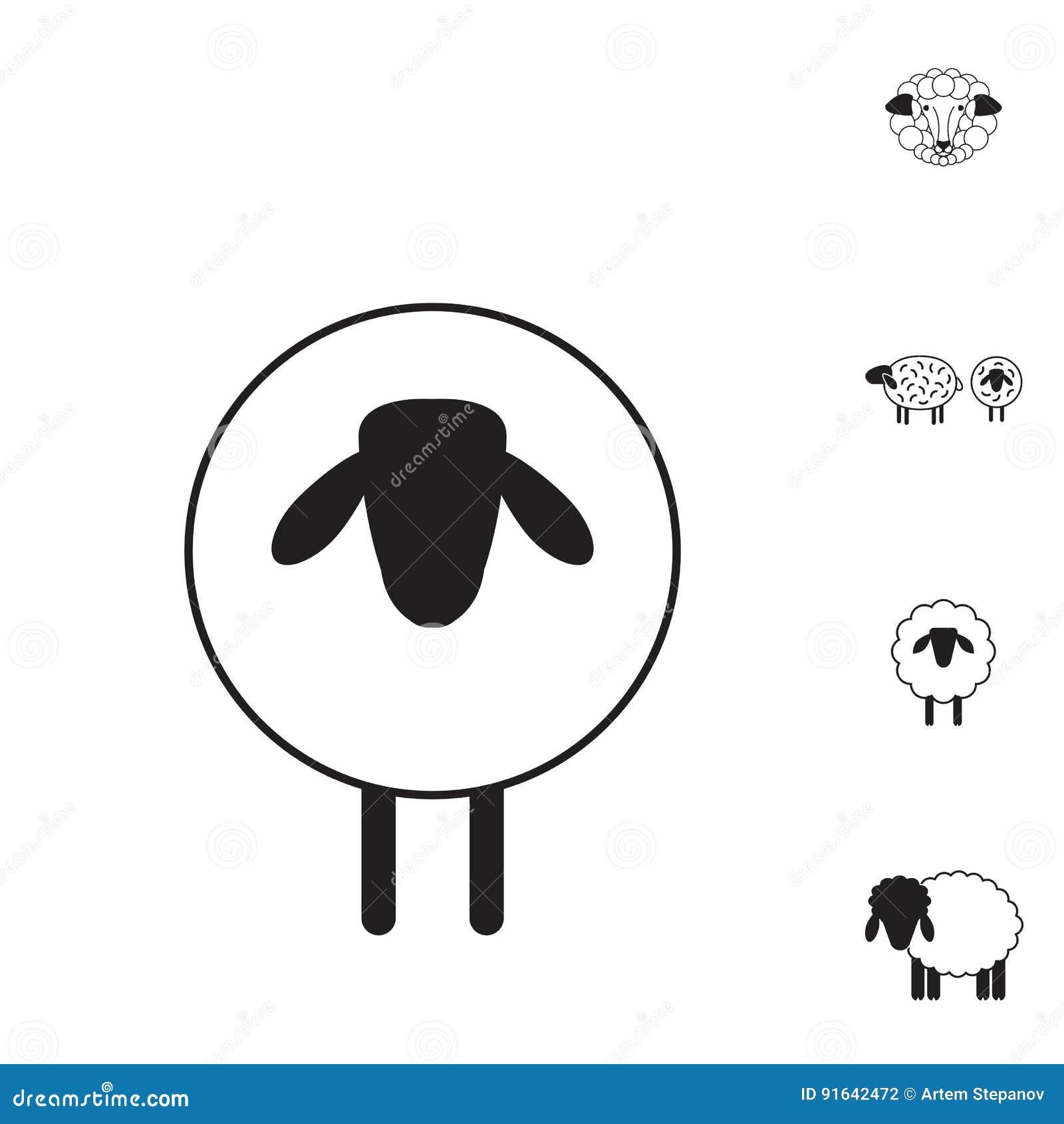 Schaf Oder Ram Ikone Logo Schablone Piktogramm Vektor Abbildung