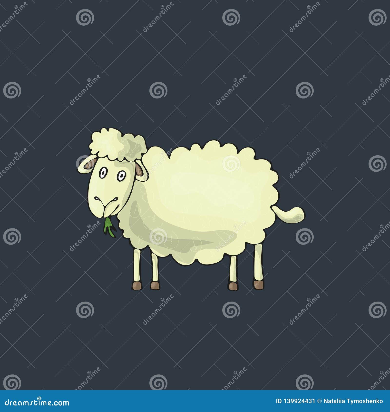 Schafe nett auf grauem Hintergrund Lokalisierter Karikaturvektorcharakter