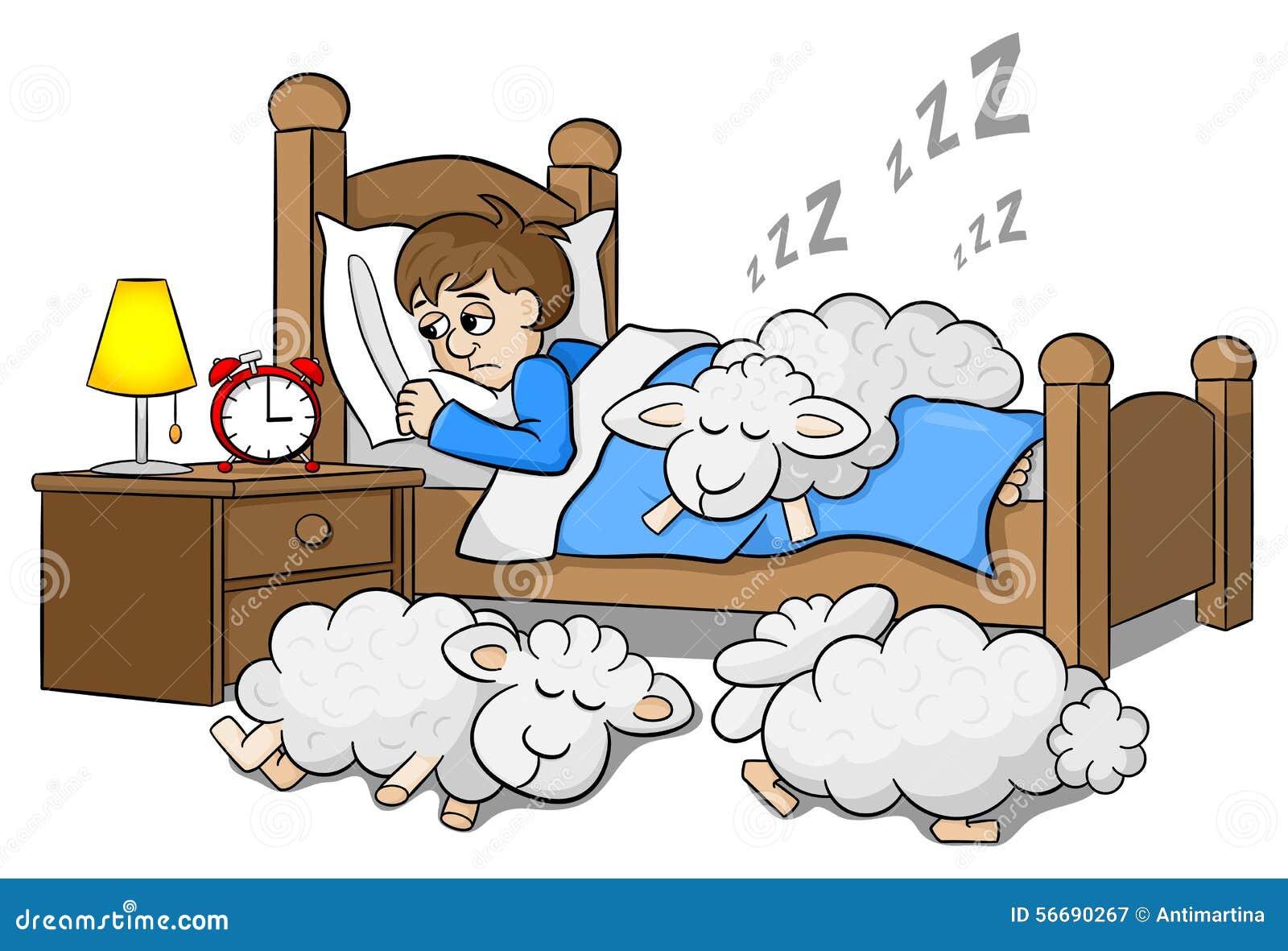 schafe schlafen auf das bett eines schlaflosen mannes ein vektor abbildung bild 56690267. Black Bedroom Furniture Sets. Home Design Ideas