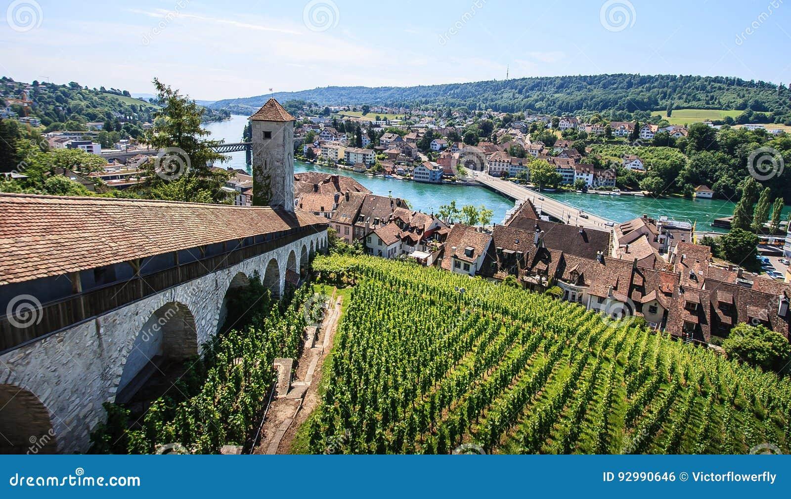 Schaffhausen, Szwajcaria Panoramiczny widok stary miasteczko, Munot Rhine forteczna przegapia rzeka