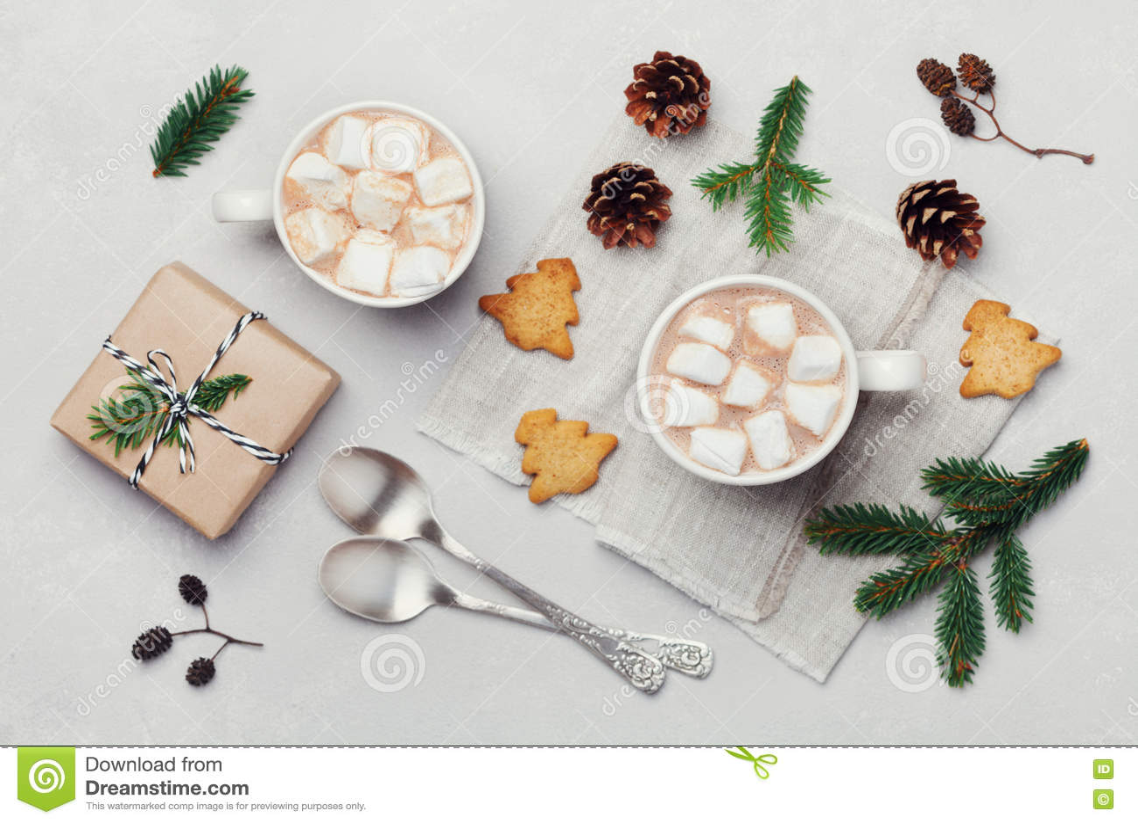 Traditionelle Weihnachtsgeschenke.Schale Heißer Kakao Oder Schokolade Mit Eibisch Plätzchen Und