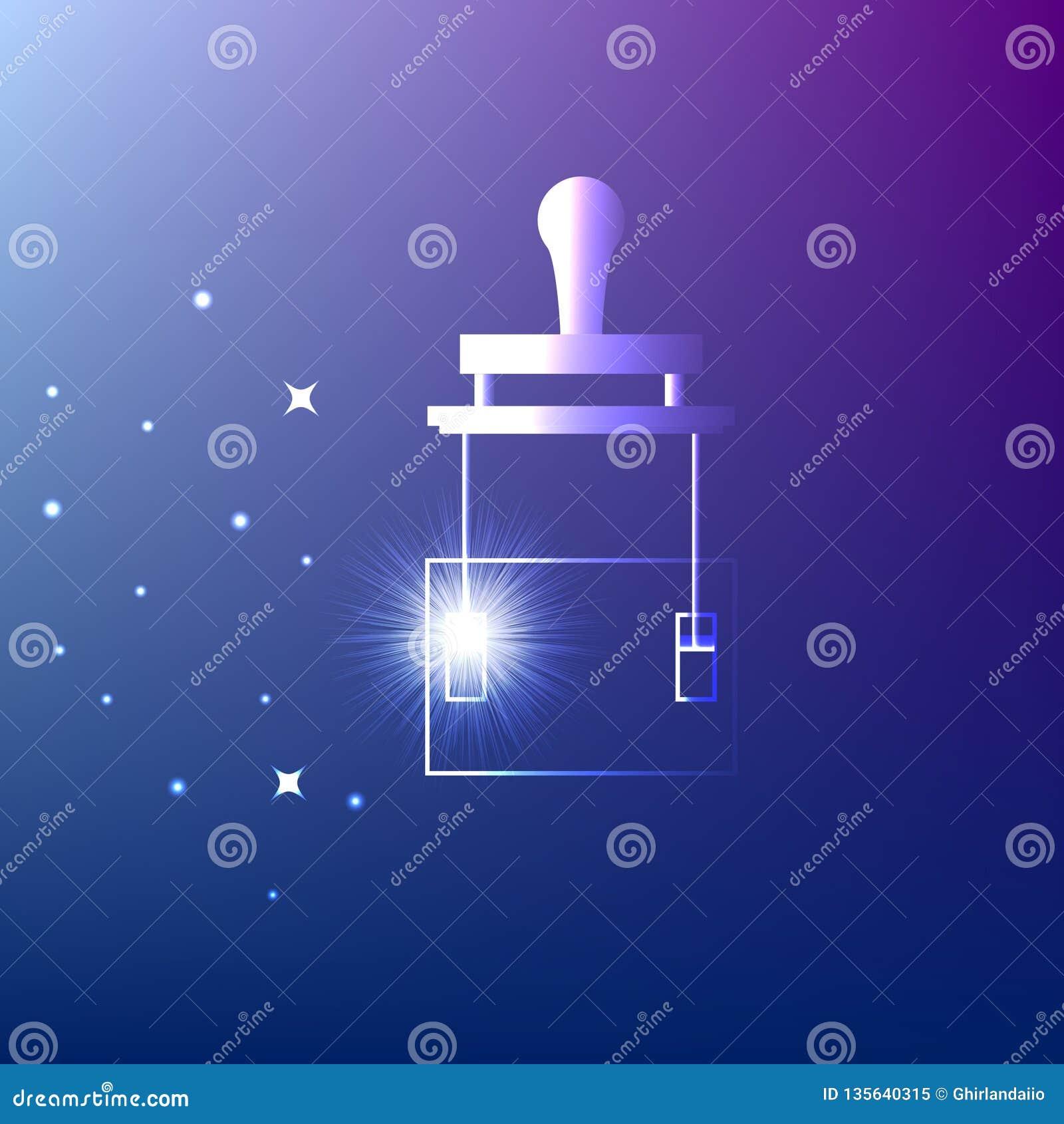 Schaltermesser Leistungsschalter auf blauem Hintergrund Glühende Ikone Idee, Strom, Energie, Innovation oder anderes Konzept illu