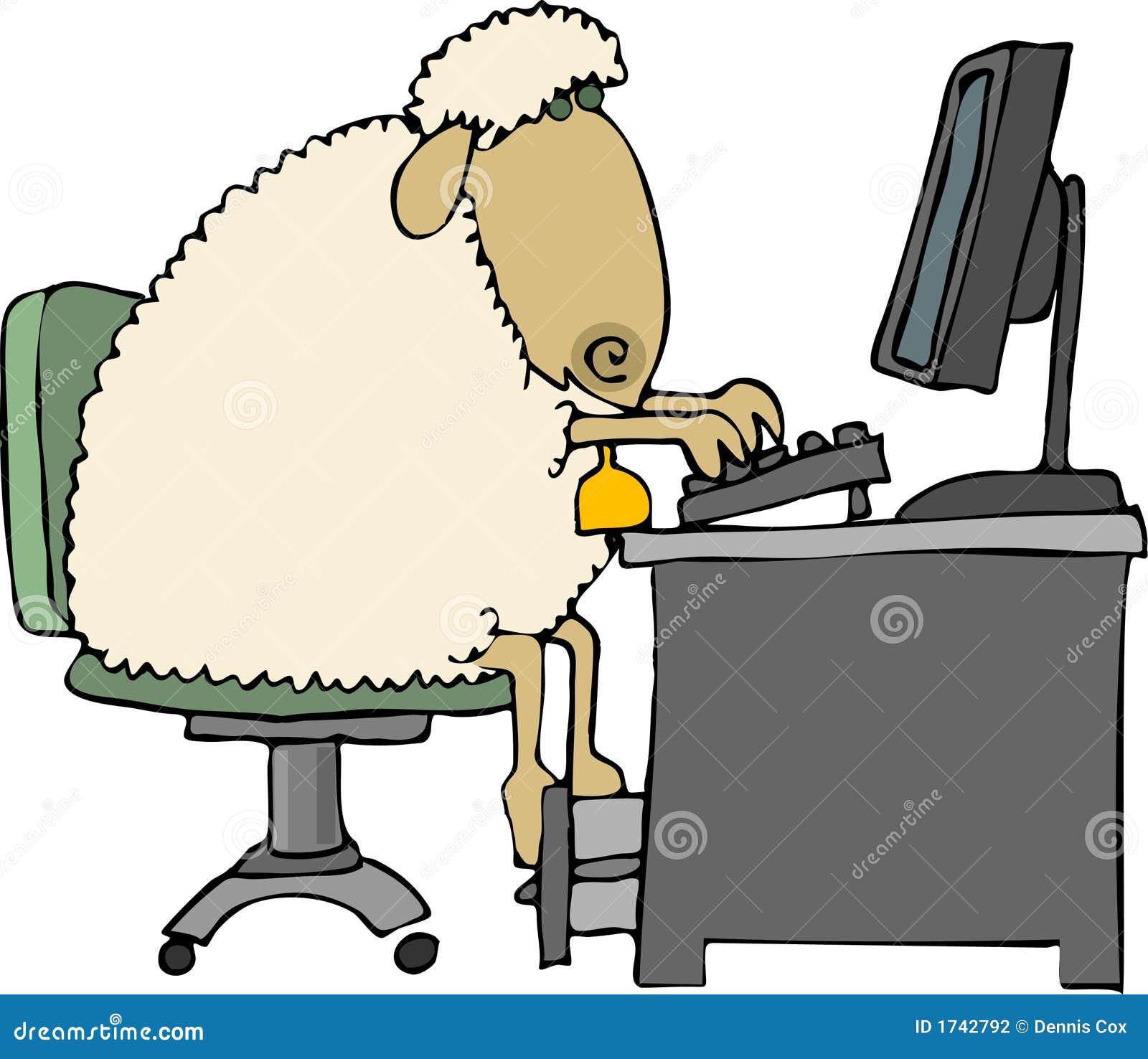 Schapen bij een computer