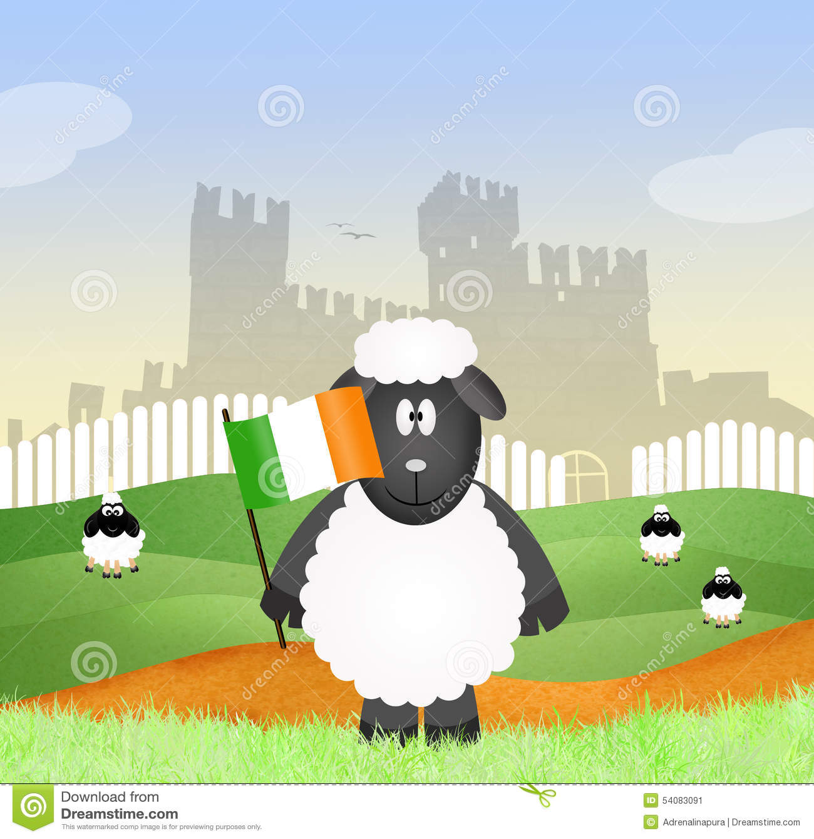 Schapen met Ierse vlag