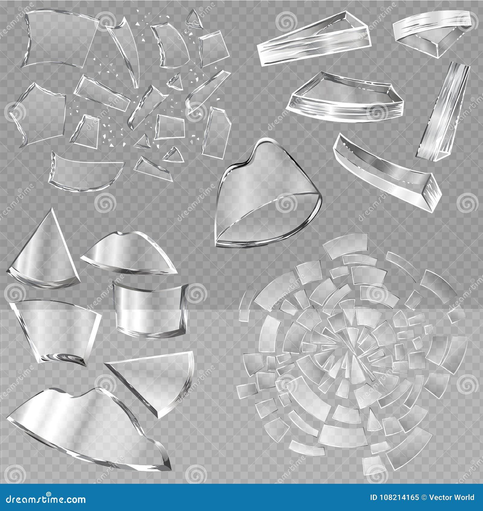 Scharfe Stücke des defekten Glasvektors Fenster und realistische zerbrochene Glaswaren oder zerbrechen Rückstand des Brechens des