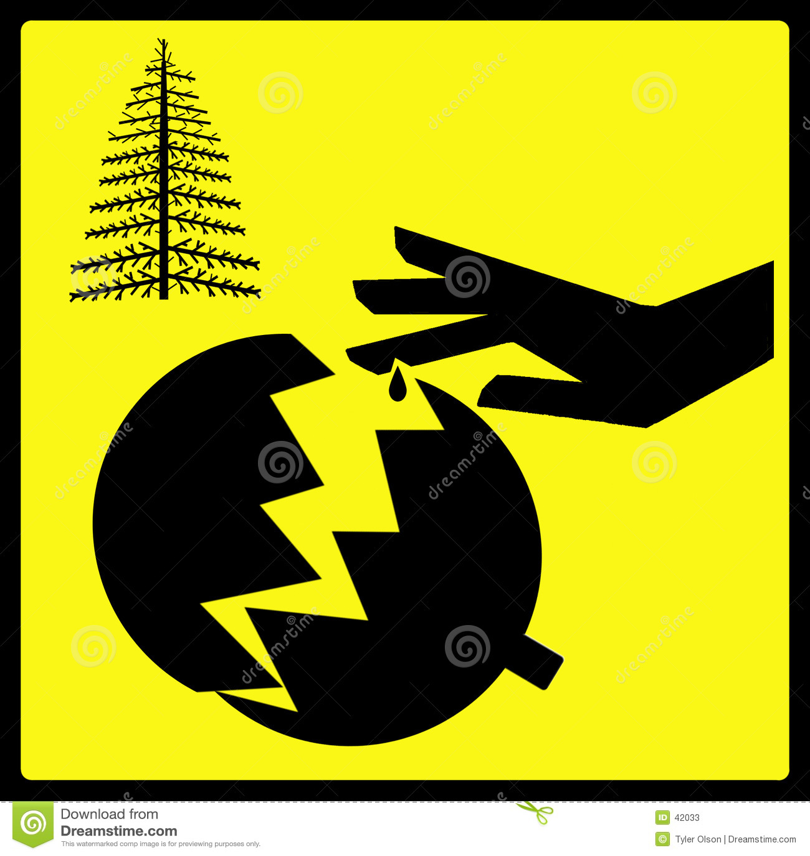 Scharfes gebrochenes Weihnachtsbaum-Verzierung-Zeichen