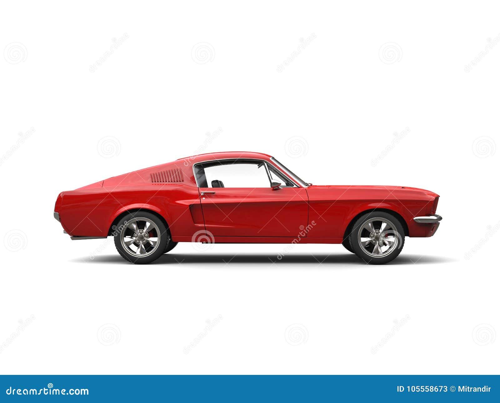 Scharlaken rode Amerikaanse uitstekende spierauto - zijaanzicht