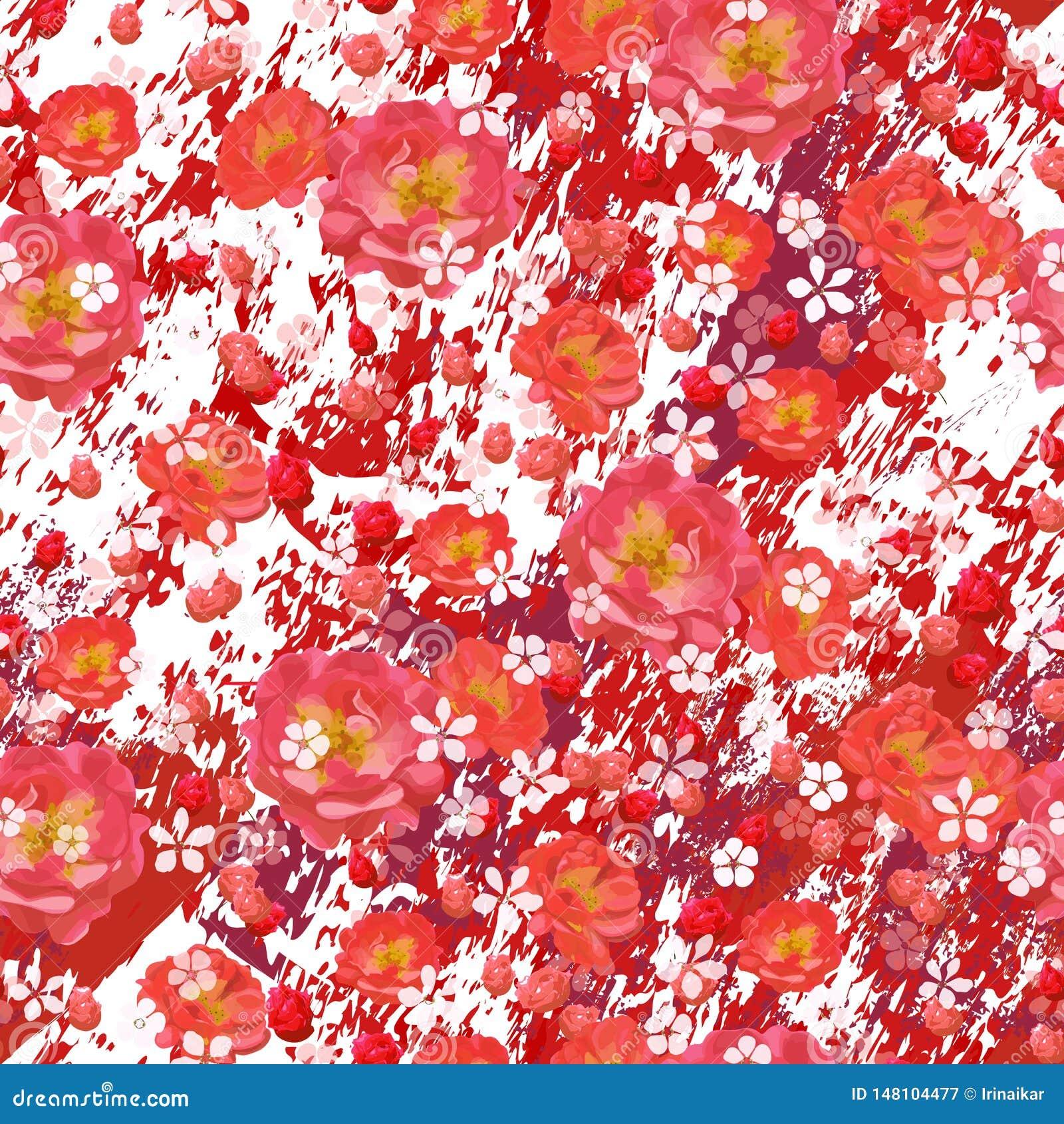 Scharlaken rozen en kleine witte bloemen op geweven rode en witte marmeren achtergrond