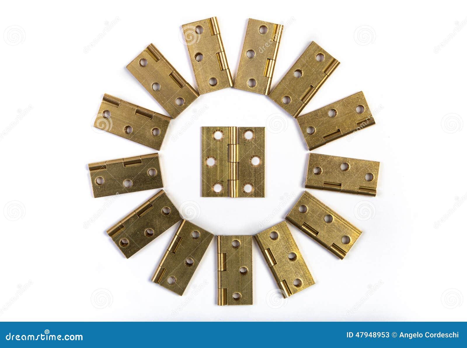 scharniere f r t rblumen sonnenkreis goldener messing auf wei stockfoto bild 47948953. Black Bedroom Furniture Sets. Home Design Ideas
