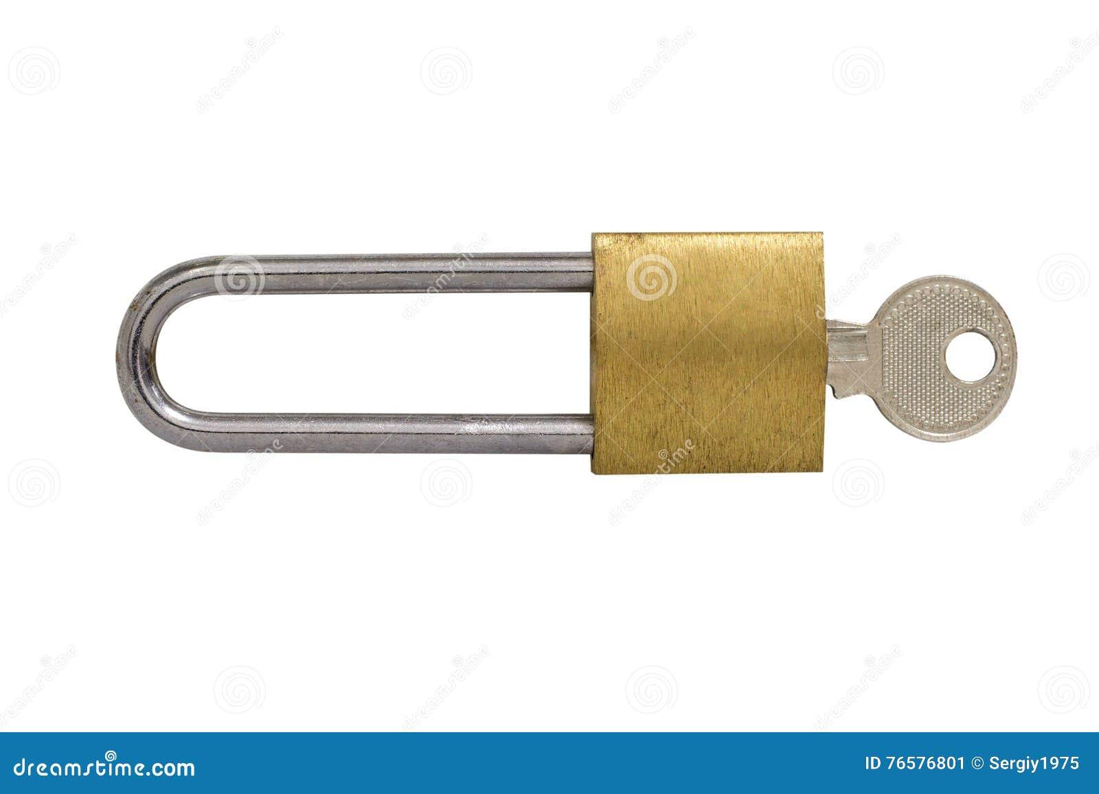 Scharnierend die slot met een sleutel op witte achtergrond wordt geïsoleerd