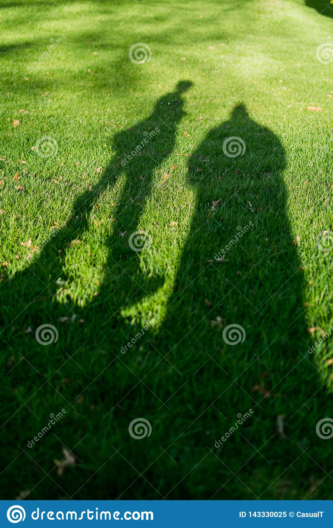 Schatten von zwei Leuten im Gras, an einem sehr sonnigen Tag