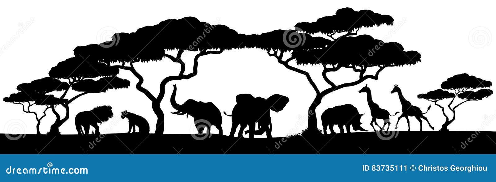 Schattenbild-Afrikaner Safari Animal Landscape Scene