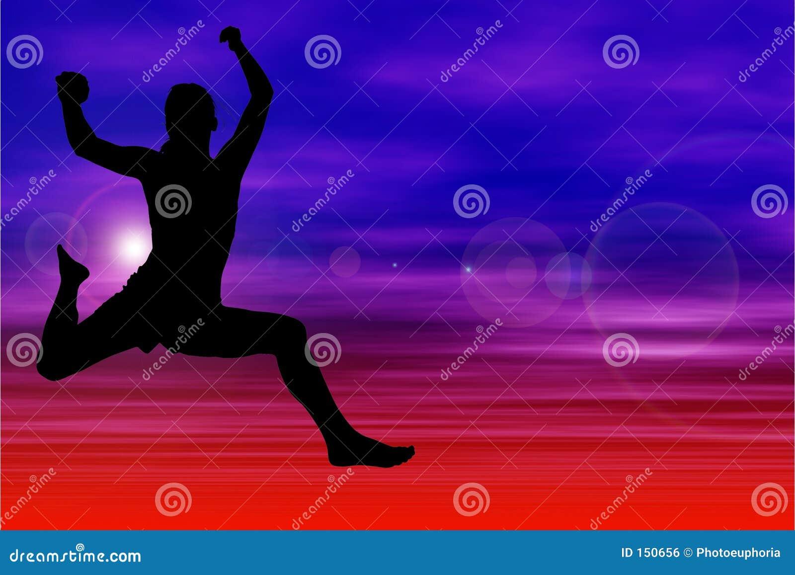 Schattenbild der Frau springend gegen Himmel