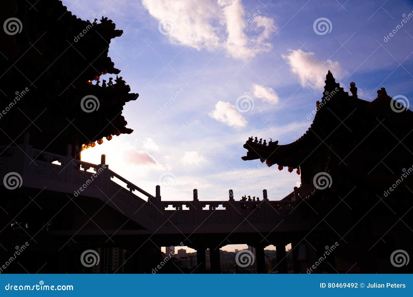 Schattenbild des chinesischen Tempels