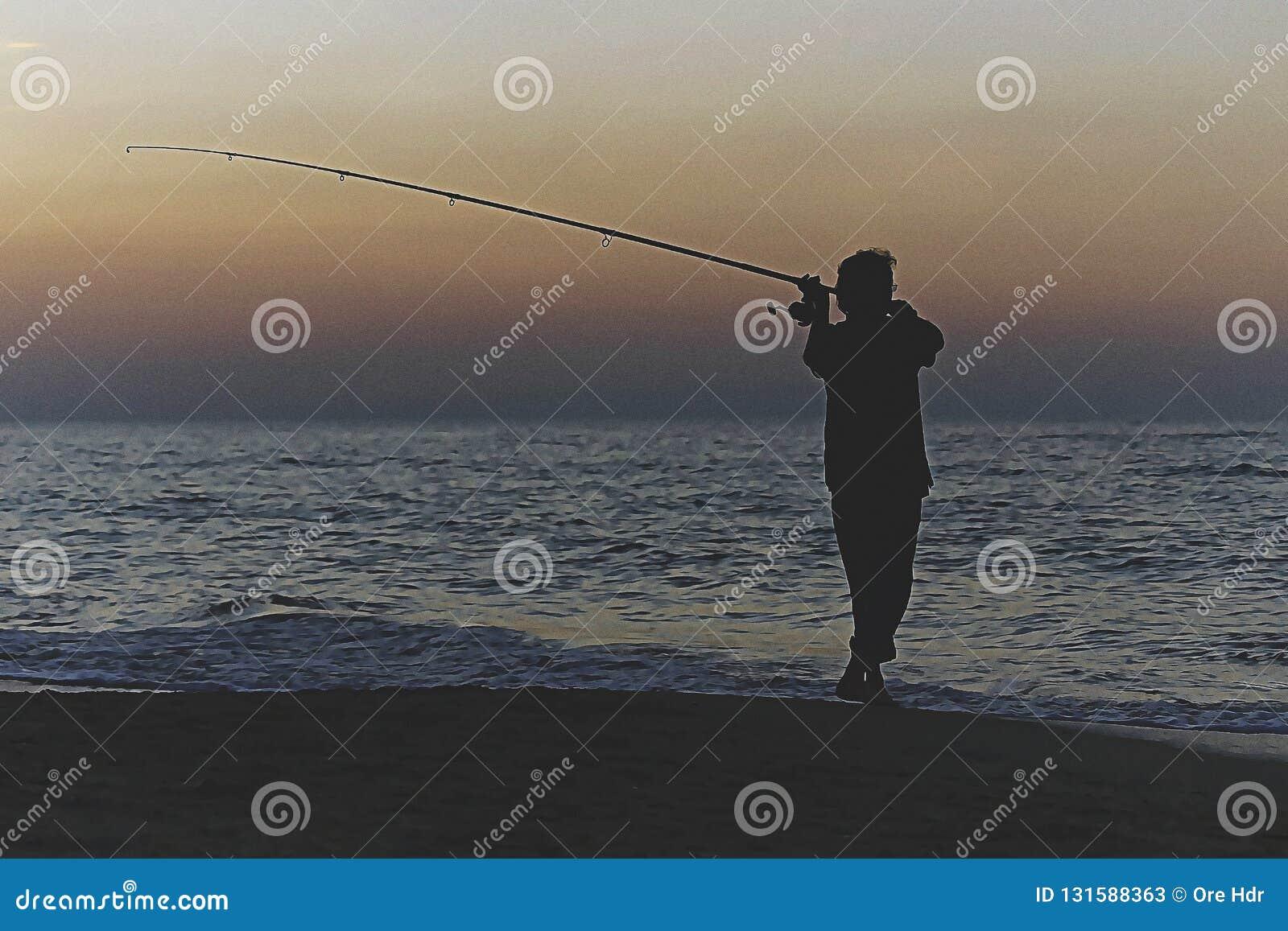 Schattenbild des Fischers