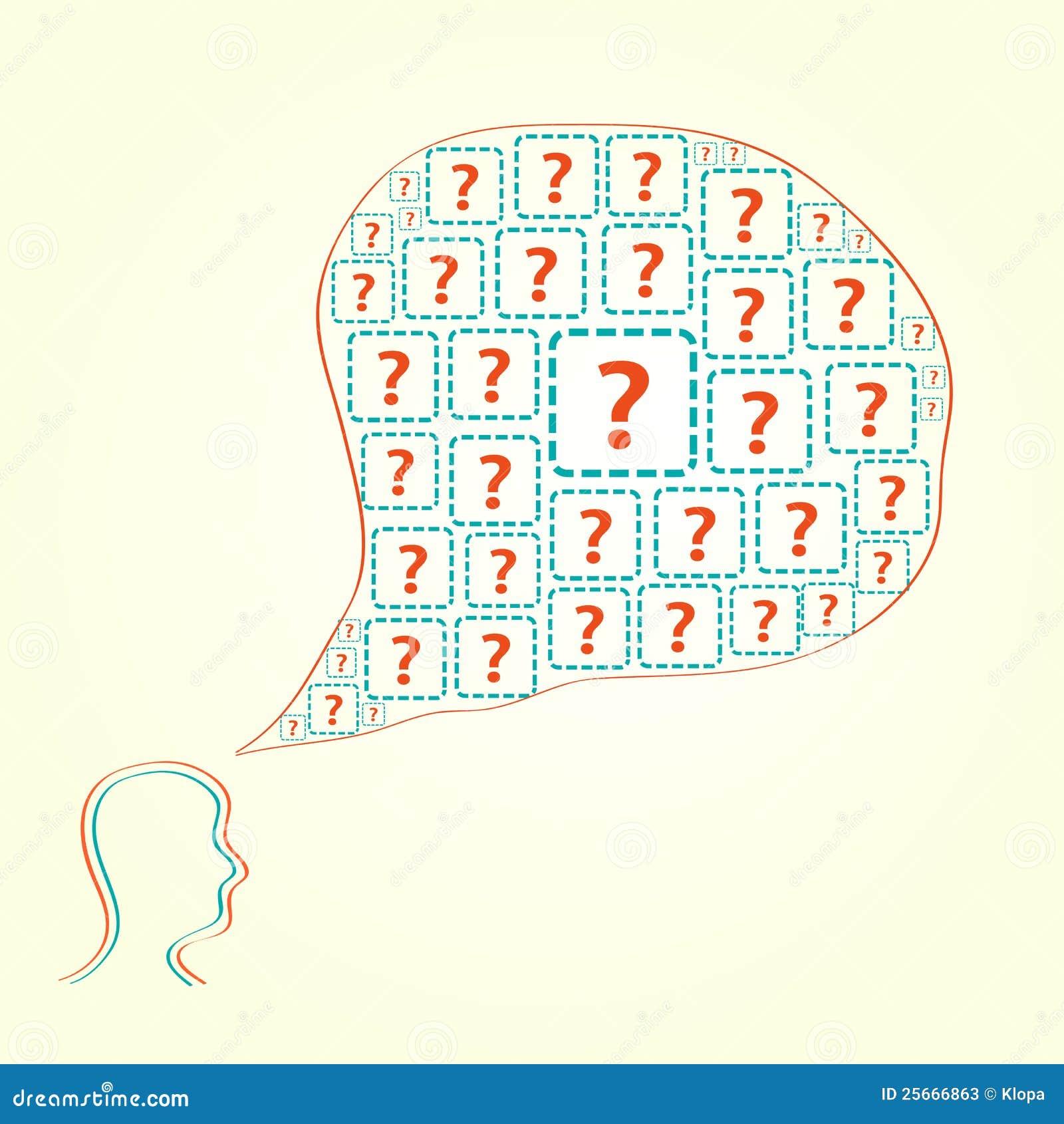 Schattenbild des menschlichen Kopfes mit Fragen-Ikonen
