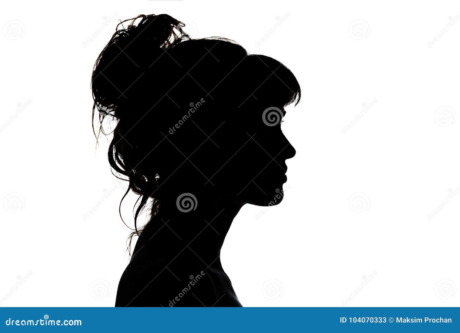 Schattenbild des schönen Profils der weiblicher Hauptkonzeptschönheit und -mode